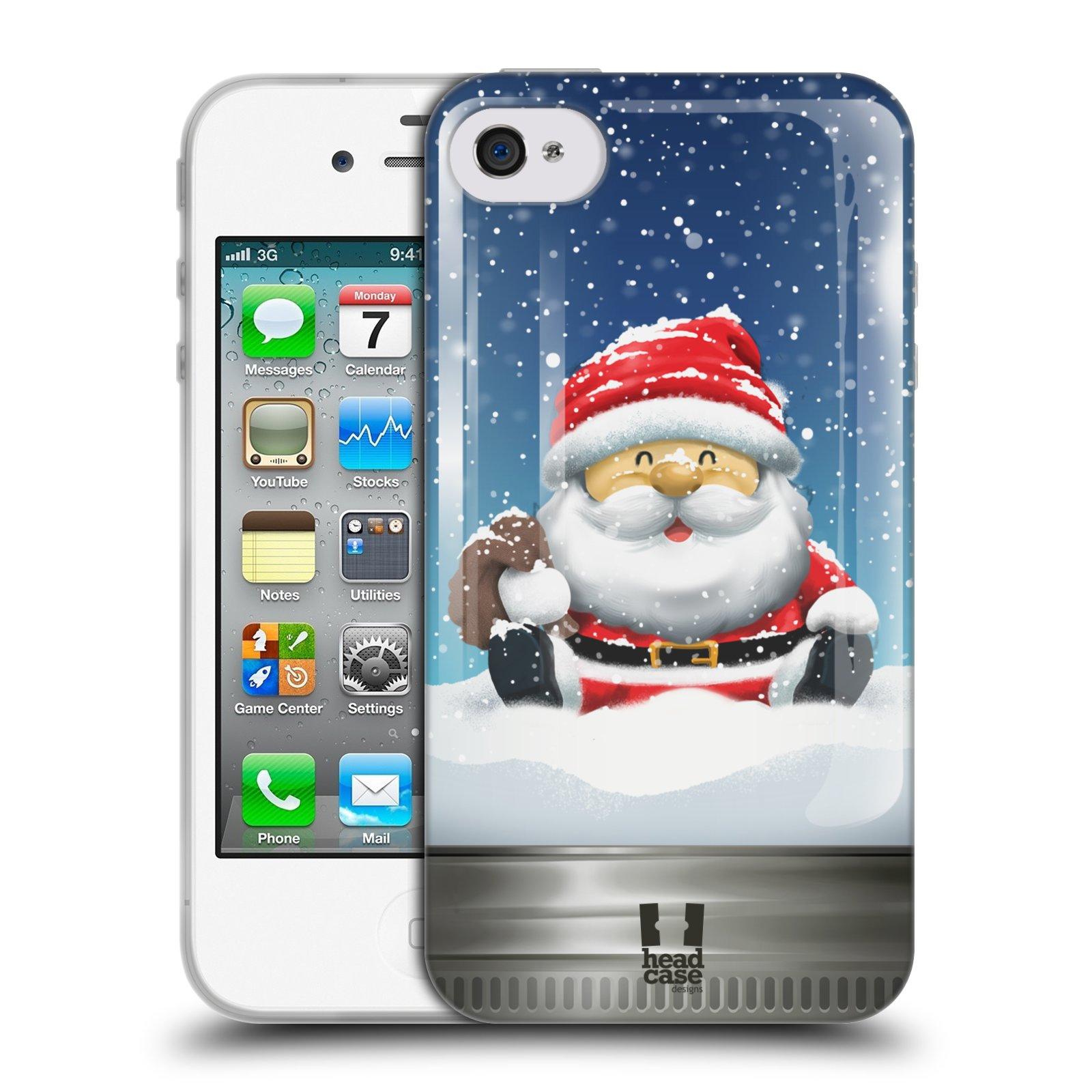 HEAD CASE silikonový obal na mobil Apple Iphone 4/4S vzor Vánoce v těžítku SANTA