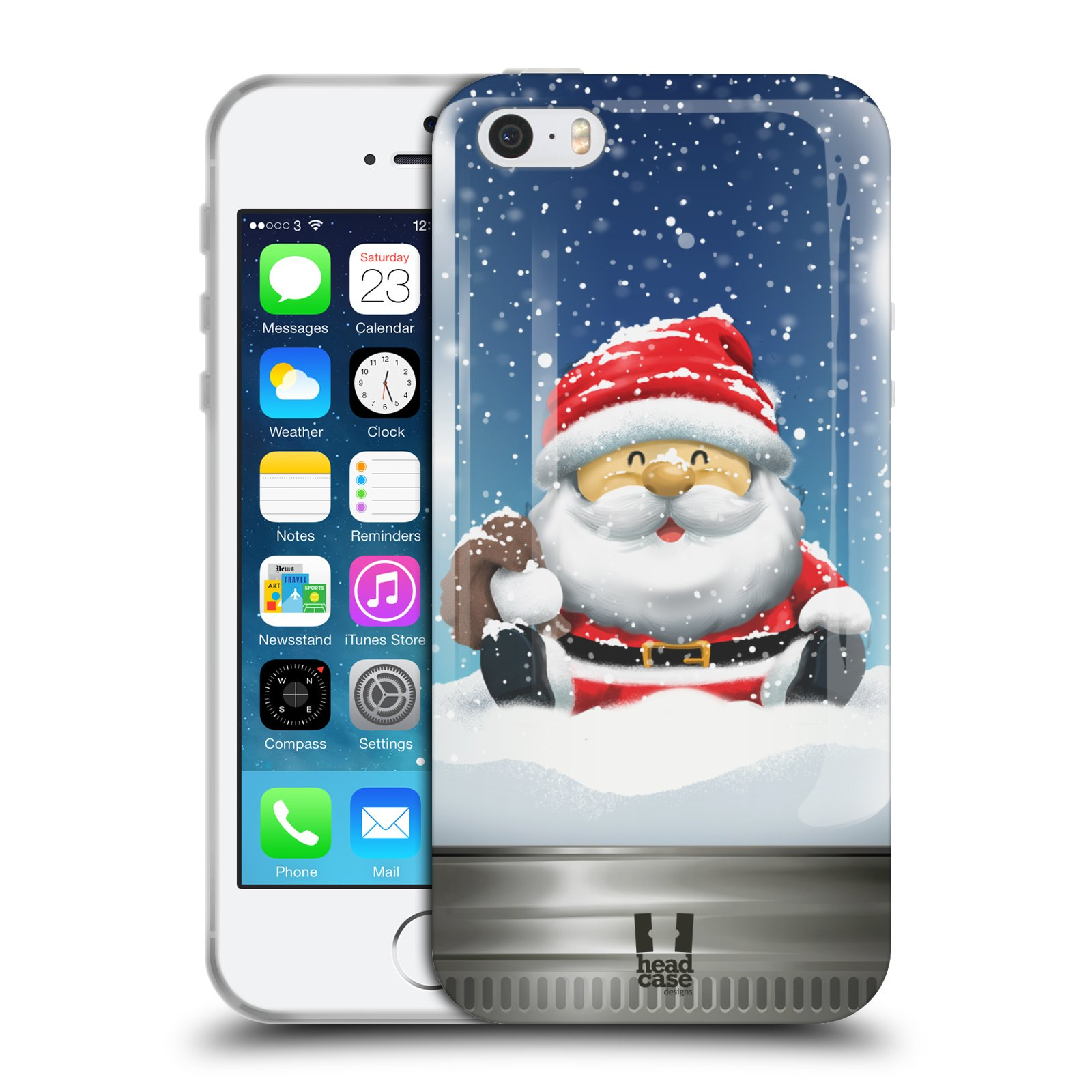 HEAD CASE silikonový obal na mobil Apple Iphone 5/5S vzor Vánoce v těžítku SANTA