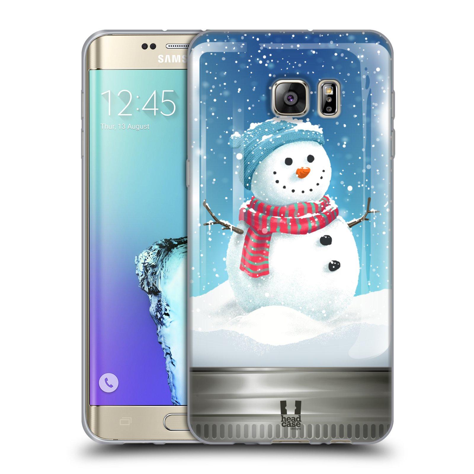 HEAD CASE silikonový obal na mobil Samsung Galaxy S6 EDGE PLUS vzor Vánoce v těžítku SNĚHULÁK