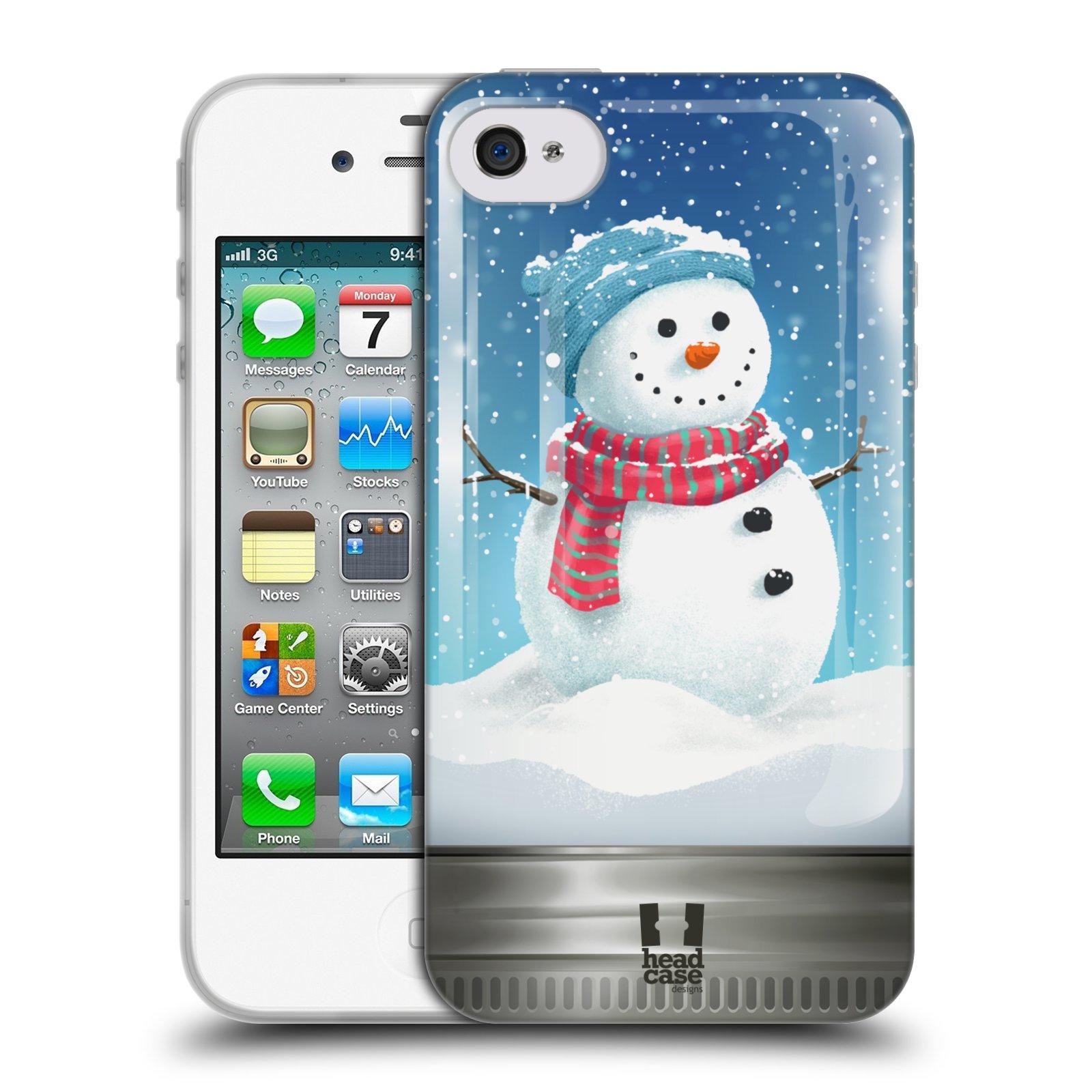 HEAD CASE silikonový obal na mobil Apple Iphone 4/4S vzor Vánoce v těžítku SNĚHULÁK