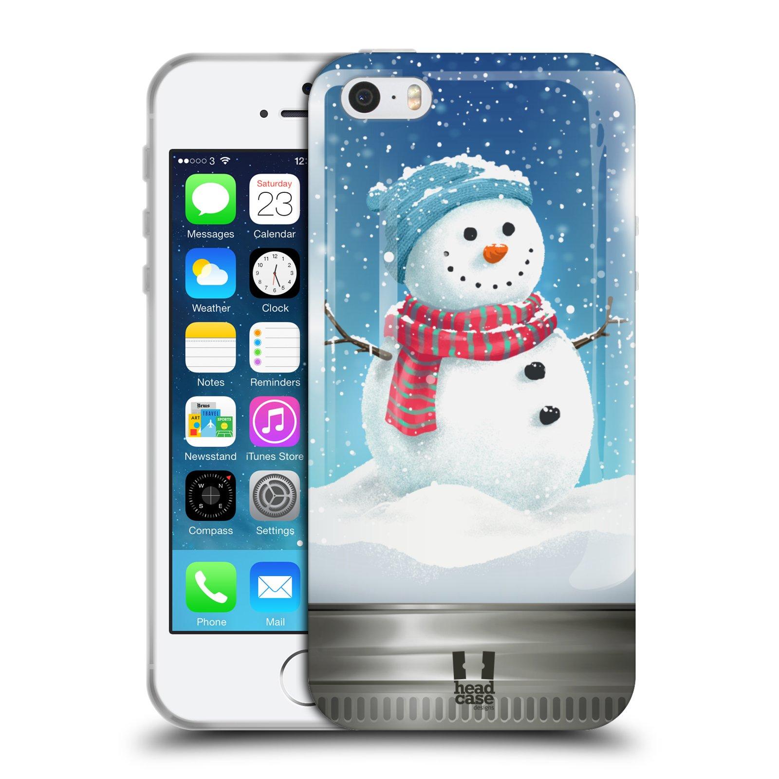 HEAD CASE silikonový obal na mobil Apple Iphone 5/5S vzor Vánoce v těžítku SNĚHULÁK