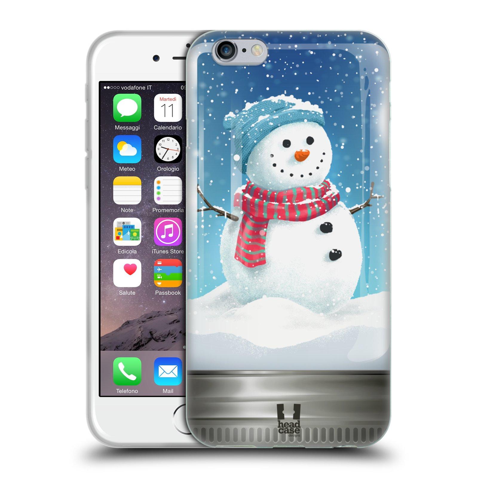 HEAD CASE silikonový obal na mobil Apple Iphone 6/6S vzor Vánoce v těžítku SNĚHULÁK