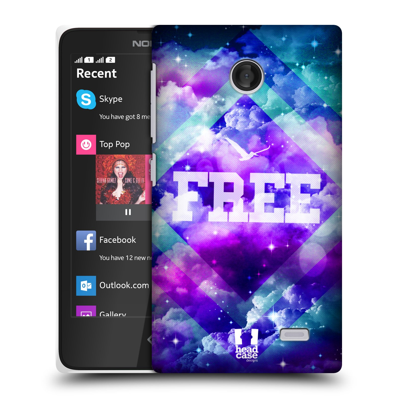 HEAD CASE CHROMATIC CLOUDS SNAP-ON BACK COVER FOR NOKIA X
