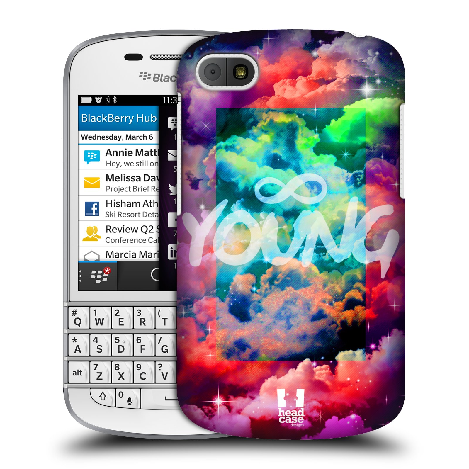 HEAD CASE CHROMATIC CLOUDS SNAP-ON BACK COVER FOR BLACKBERRY Q10