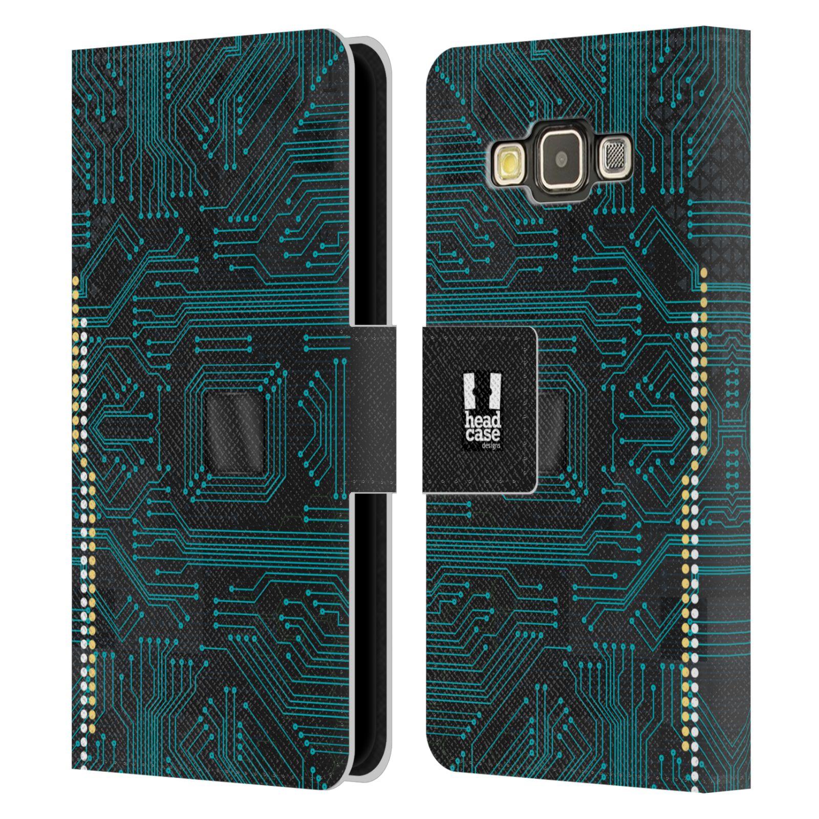 HEAD CASE Flipové pouzdro pro mobil Samsung Galaxy A3 počítač základní deska modrá barva