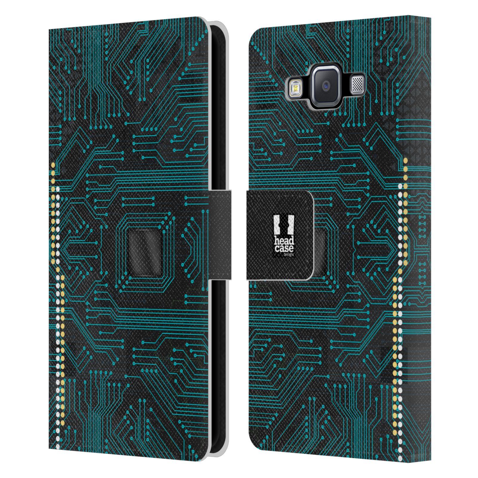 HEAD CASE Flipové pouzdro pro mobil Samsung Galaxy A5 počítač základní deska modrá barva