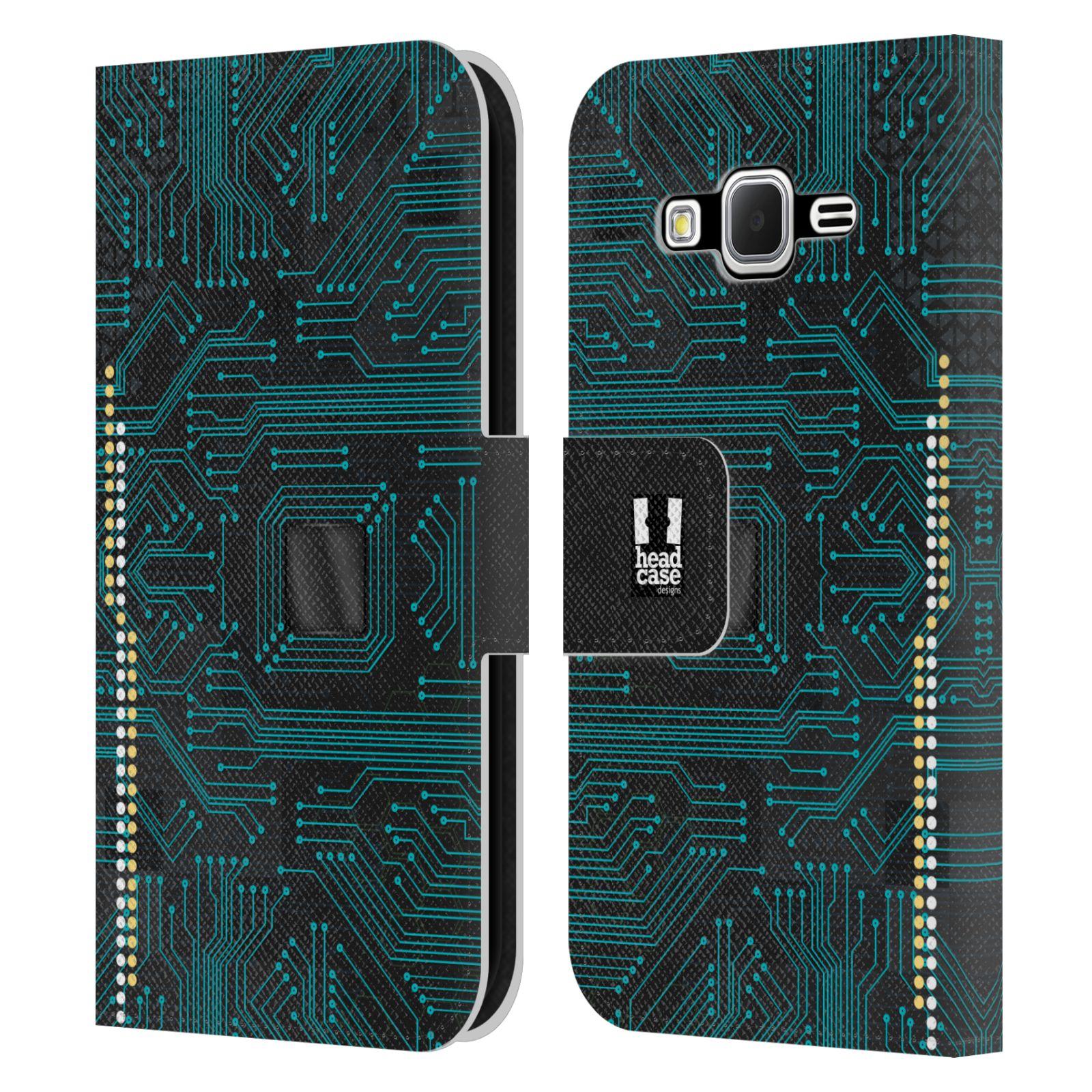 HEAD CASE Flipové pouzdro pro mobil Samsung Galaxy CORE PRIME počítač základní deska modrá barva