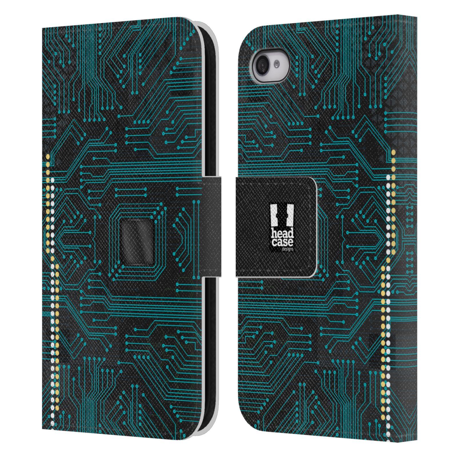 HEAD CASE Flipové pouzdro pro mobil Apple Iphone 4/4s počítač základní deska modrá barva