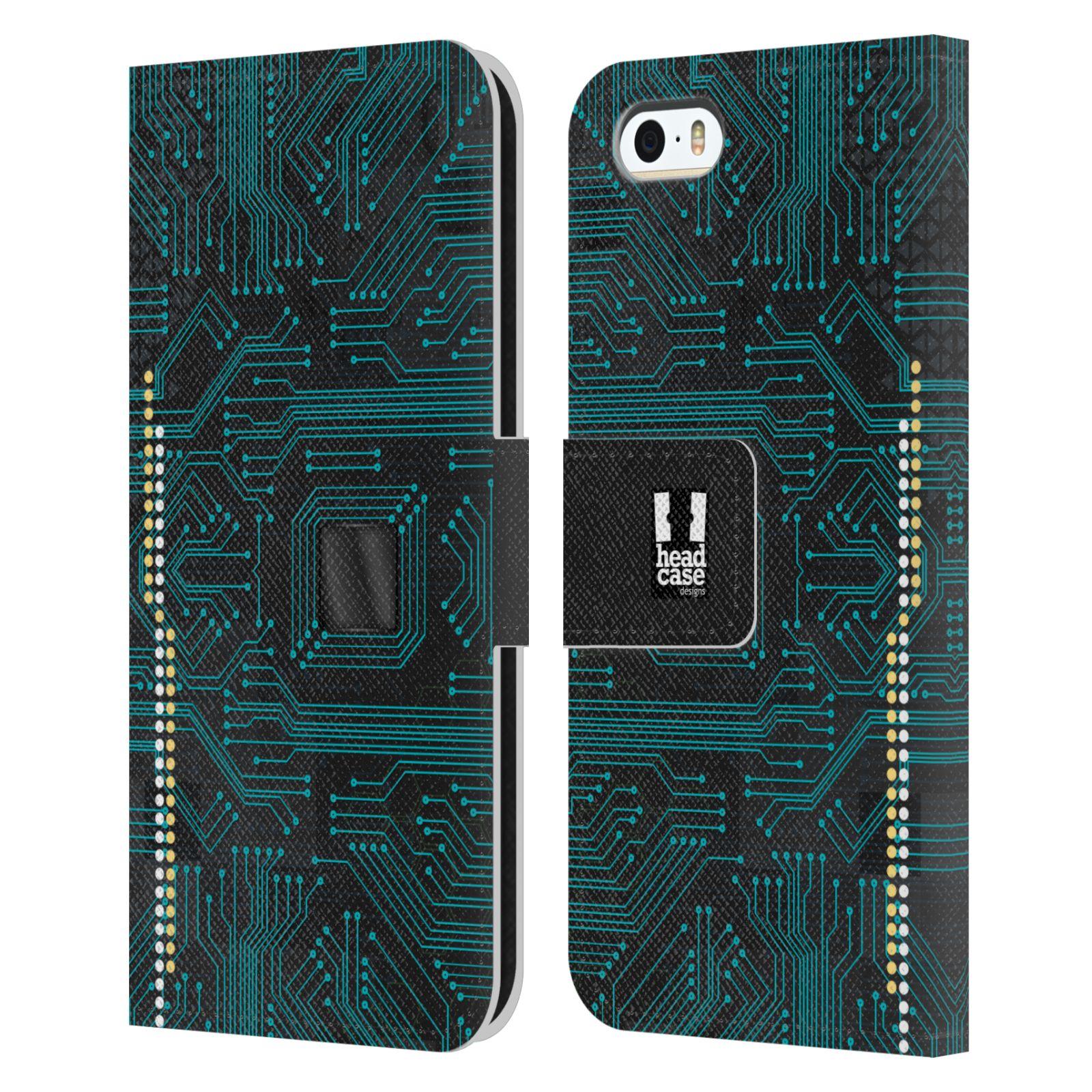 HEAD CASE Flipové pouzdro pro mobil Apple Iphone 5/5s počítač základní deska modrá barva