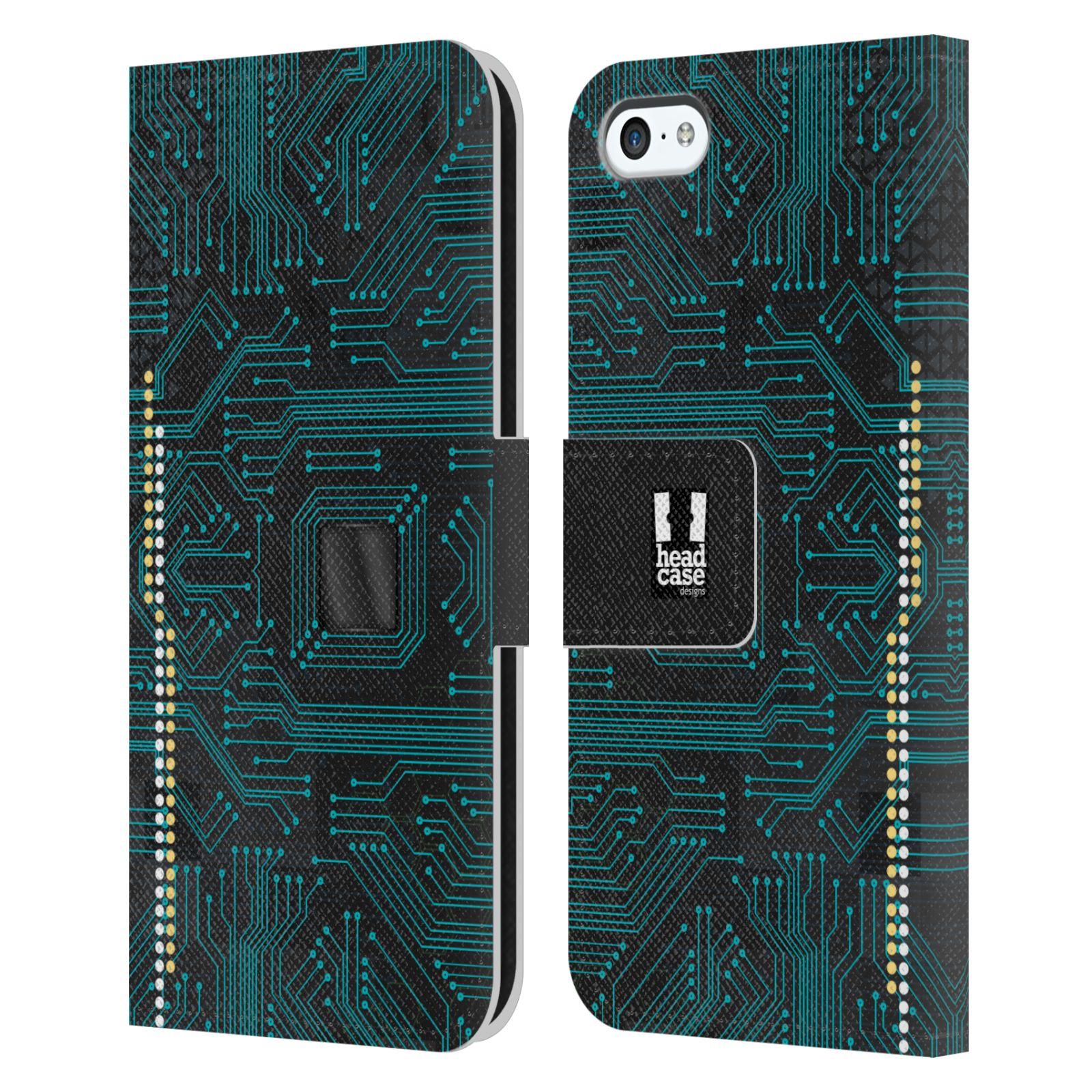 HEAD CASE Flipové pouzdro pro mobil Apple Iphone 5C počítač základní deska modrá barva