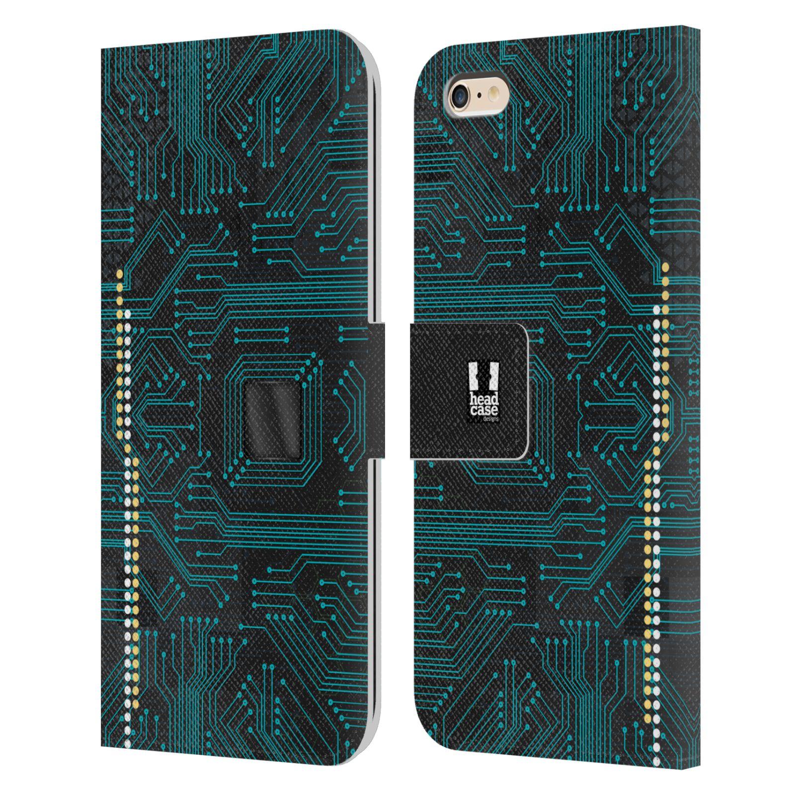 HEAD CASE Flipové pouzdro pro mobil Apple Iphone 6 PLUS / 6S PLUS počítač základní deska modrá barva