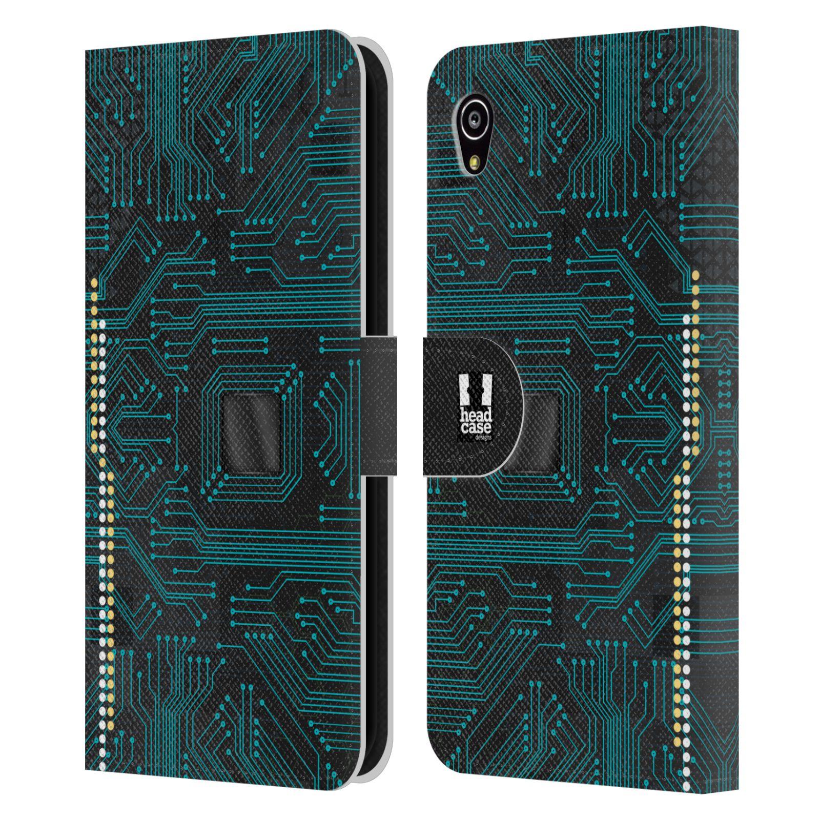 HEAD CASE Flipové pouzdro pro mobil SONY XPERIA M4 AQUA počítač základní deska modrá barva