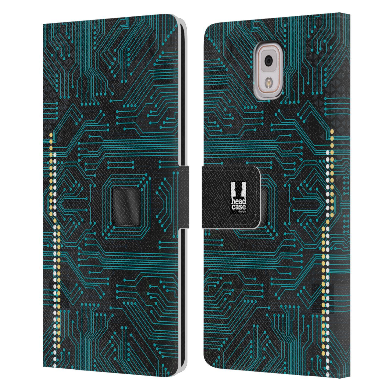 HEAD CASE Flipové pouzdro pro mobil Samsung Galaxy Note 3 N9005 počítač základní deska modrá barva