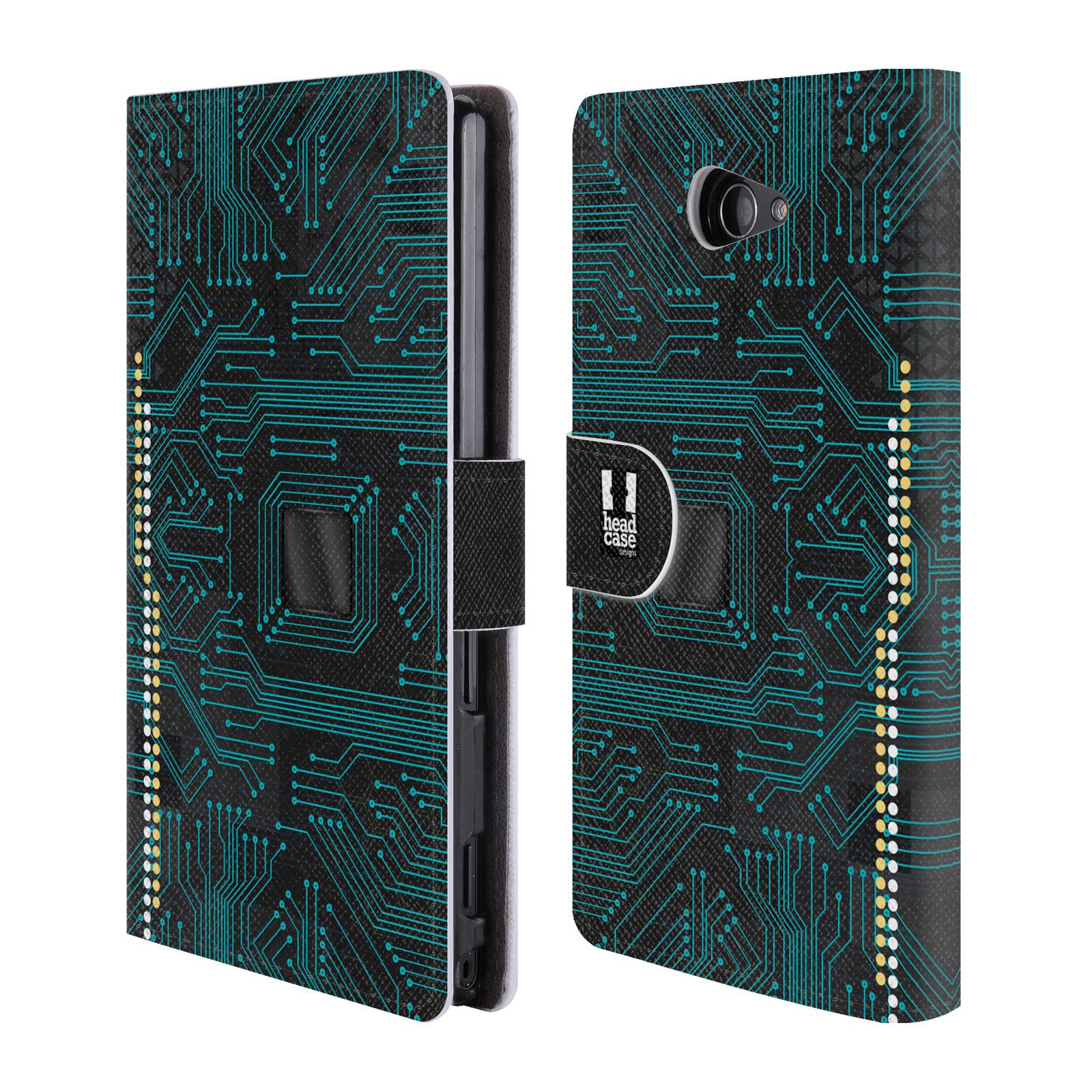 HEAD CASE Flipové pouzdro pro mobil SONY XPERIA M2 počítač základní deska modrá barva