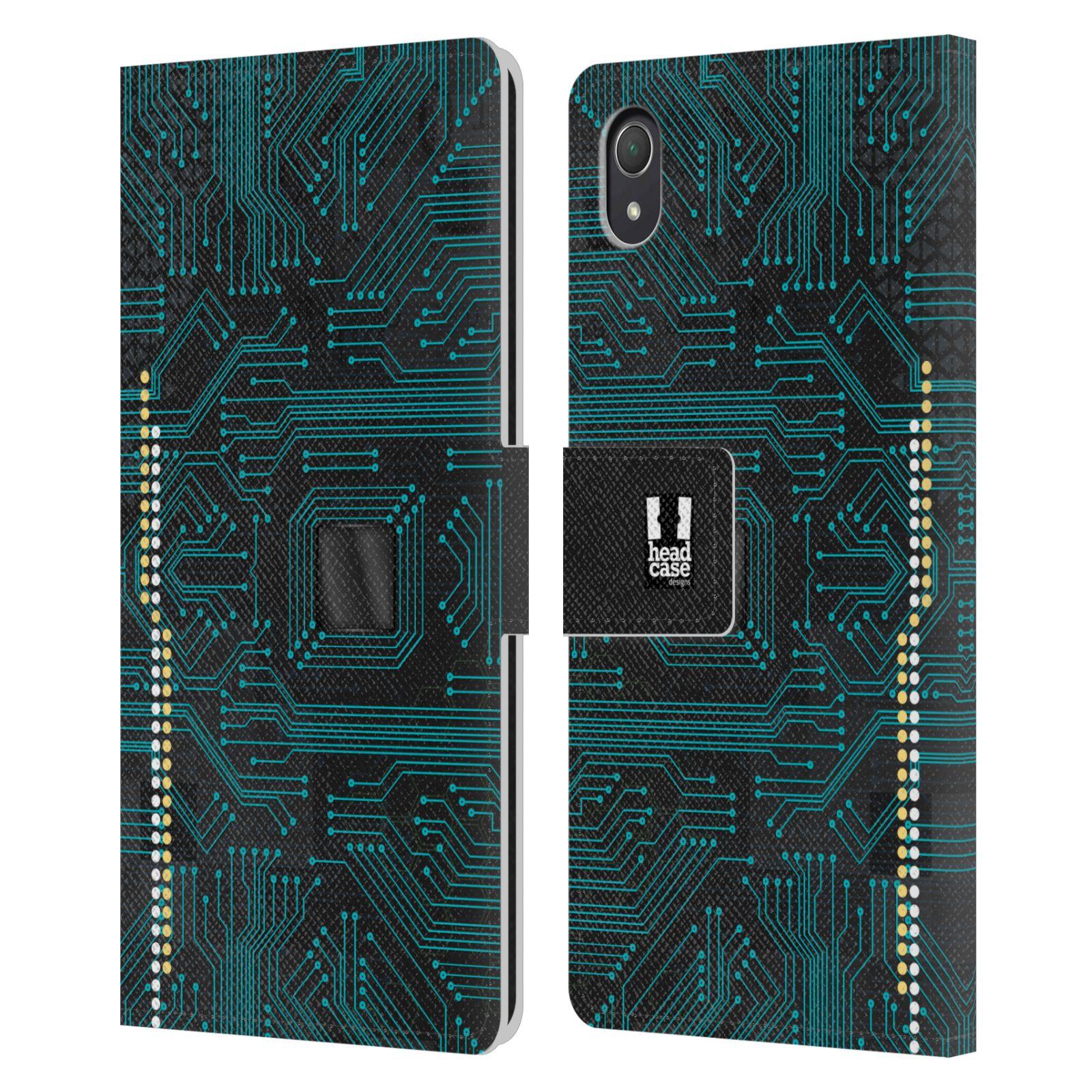 HEAD CASE Flipové pouzdro pro mobil SONY XPERIA Z2 počítač základní deska modrá barva