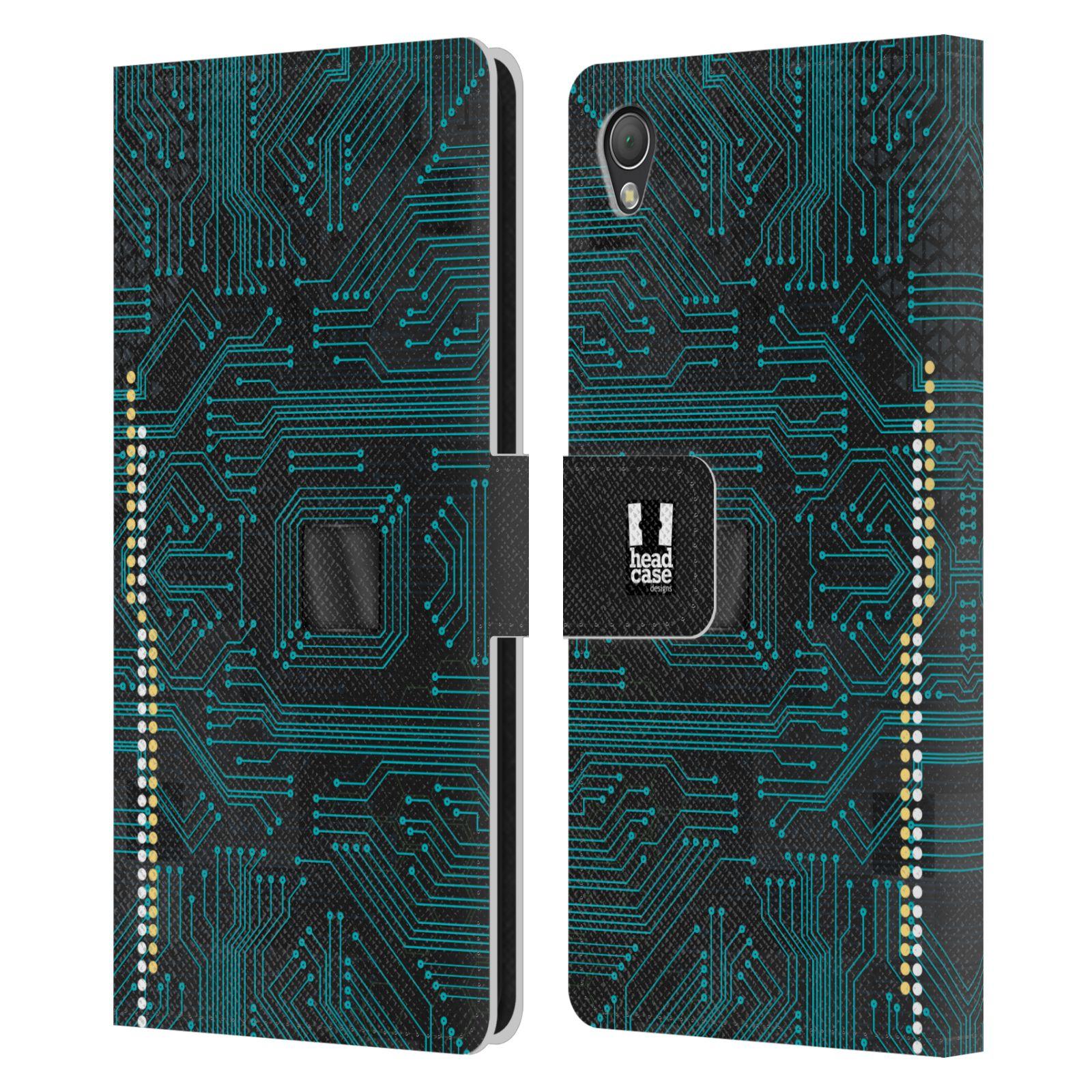 HEAD CASE Flipové pouzdro pro mobil SONY XPERIA Z3 počítač základní deska modrá barva