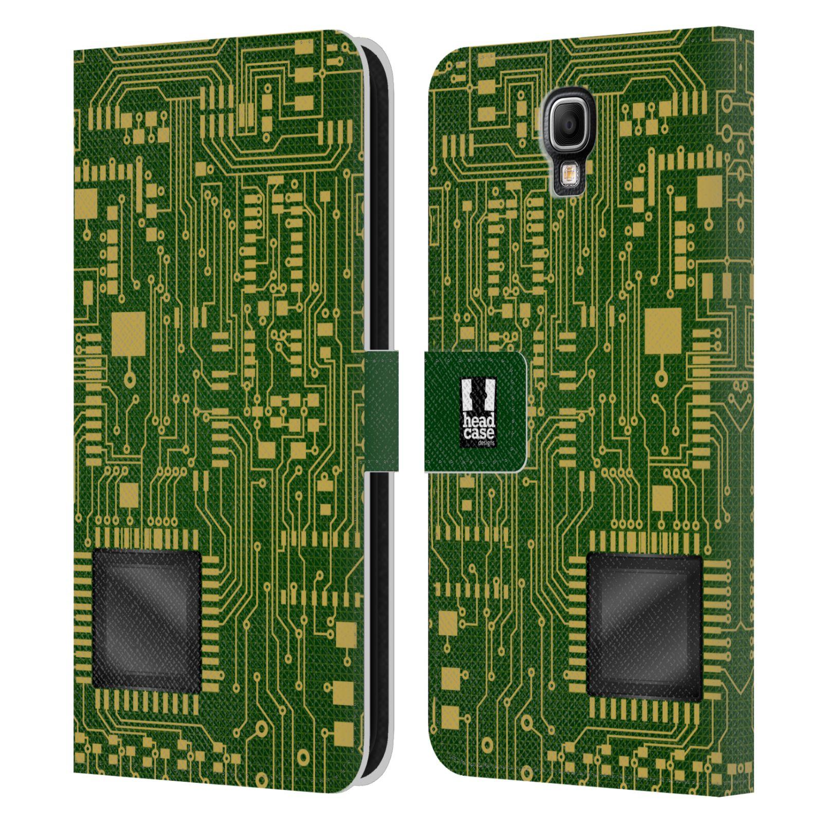 HEAD CASE Flipové pouzdro pro mobil Samsung Galaxy Note 3 NEO (N7505) počítač základní deska zelená barva velký čip