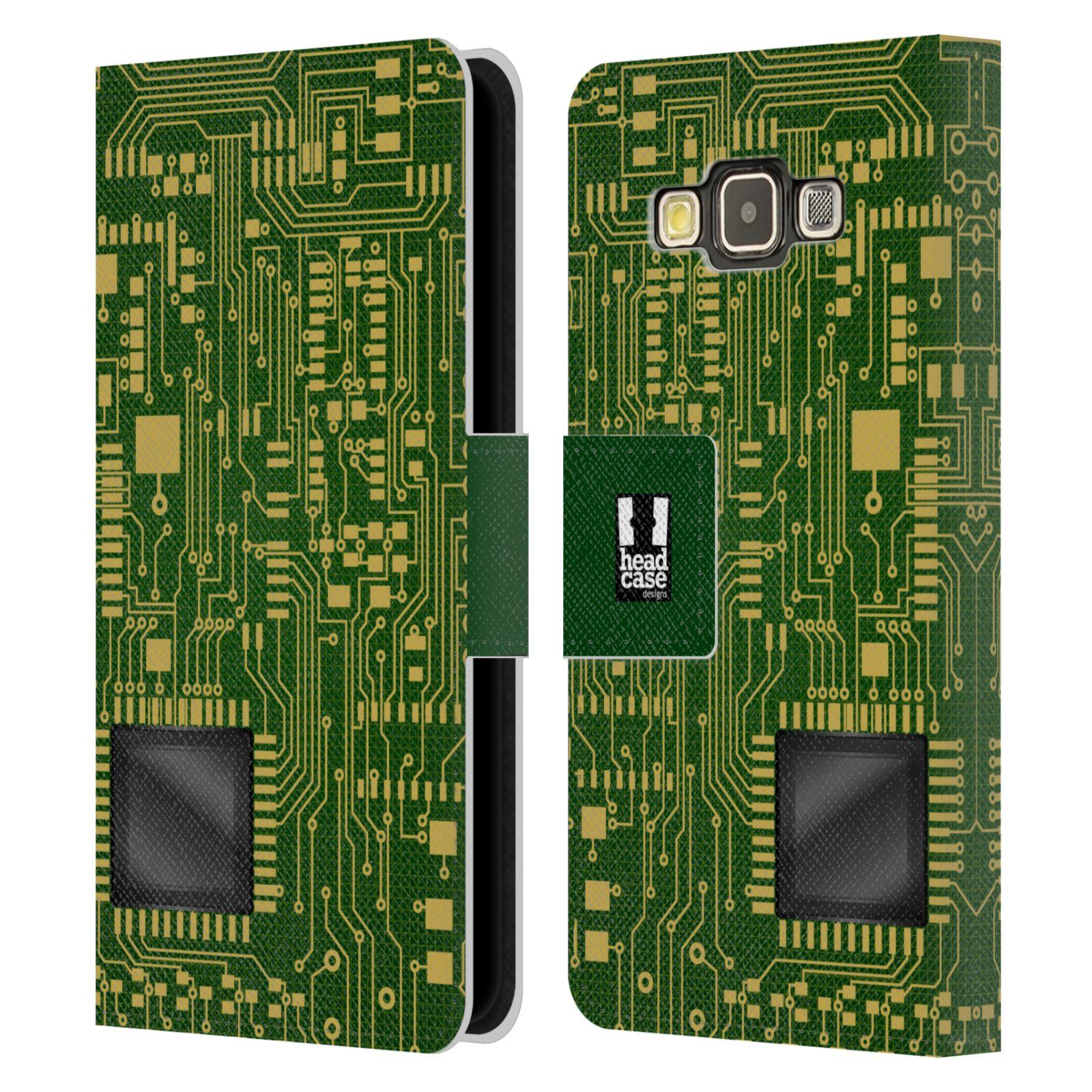 HEAD CASE Flipové pouzdro pro mobil Samsung Galaxy A3 počítač základní deska zelená barva velký čip