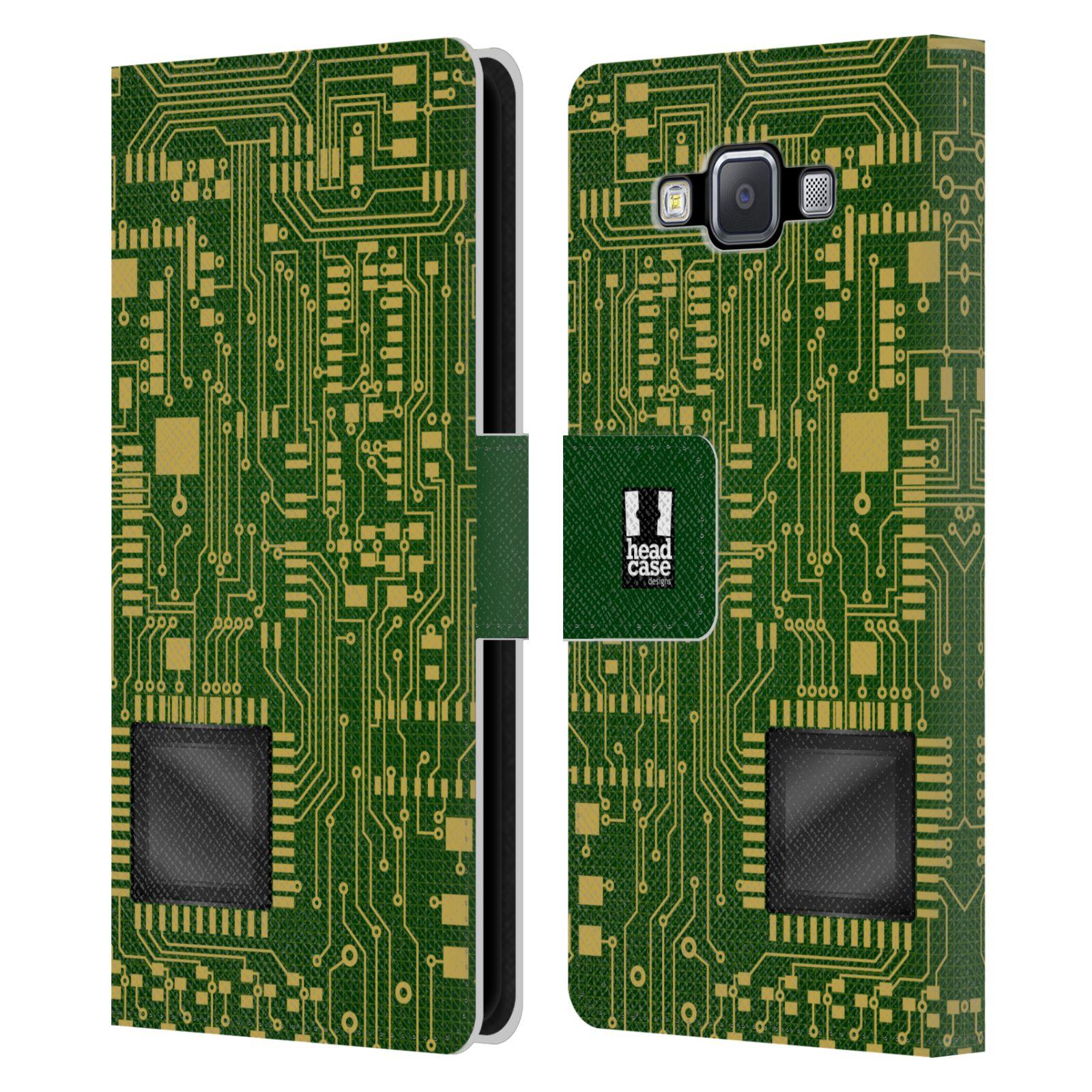 HEAD CASE Flipové pouzdro pro mobil Samsung Galaxy A5 počítač základní deska zelená barva velký čip
