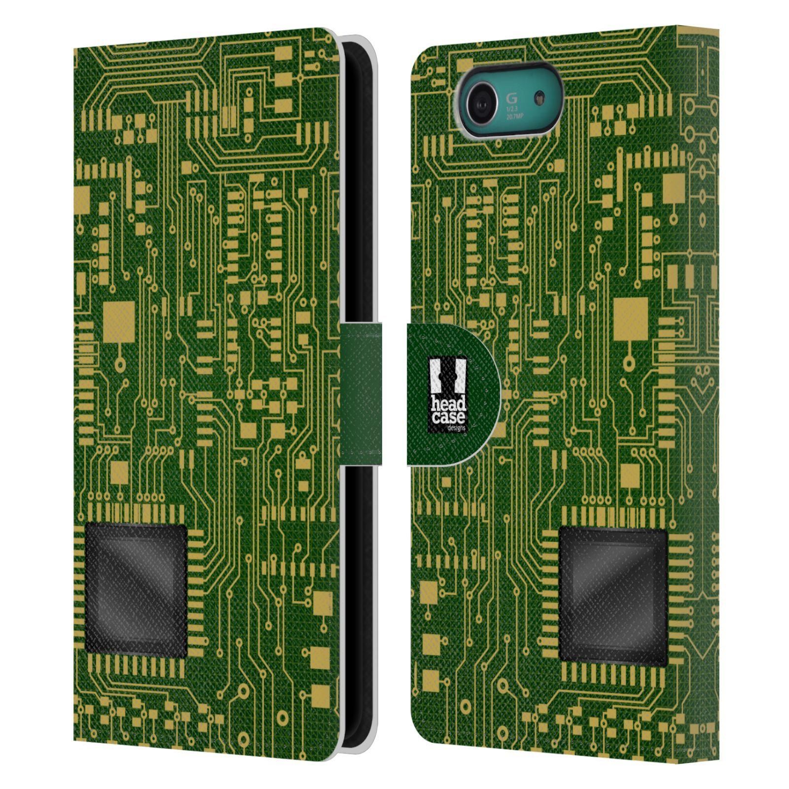HEAD CASE Flipové pouzdro pro mobil SONY XPERIA Z3 COMPACT počítač základní deska zelená barva velký čip