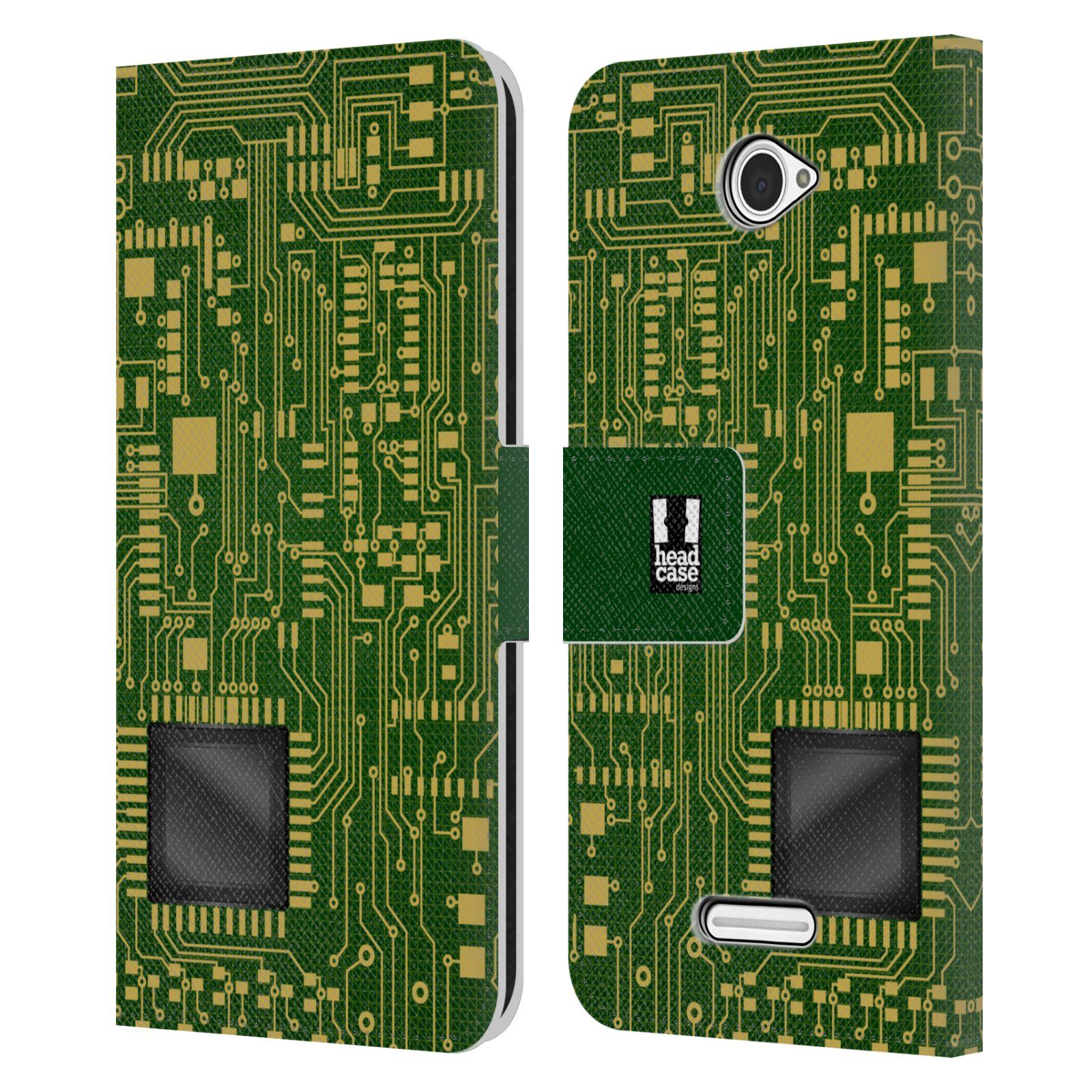 HEAD CASE Flipové pouzdro pro mobil SONY XPERIA E4 počítač základní deska zelená barva velký čip