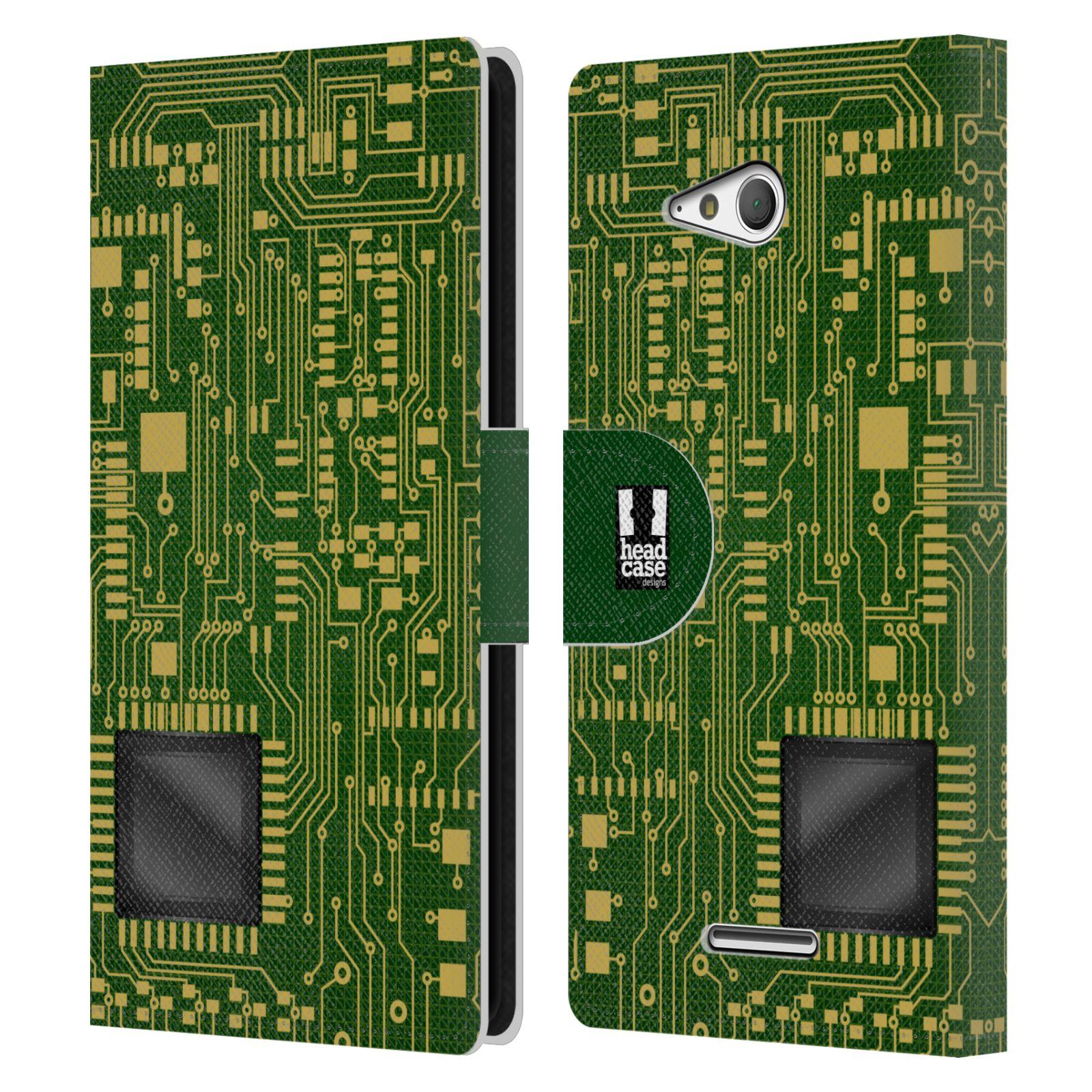 HEAD CASE Flipové pouzdro pro mobil SONY XPERIA E4g počítač základní deska zelená barva velký čip