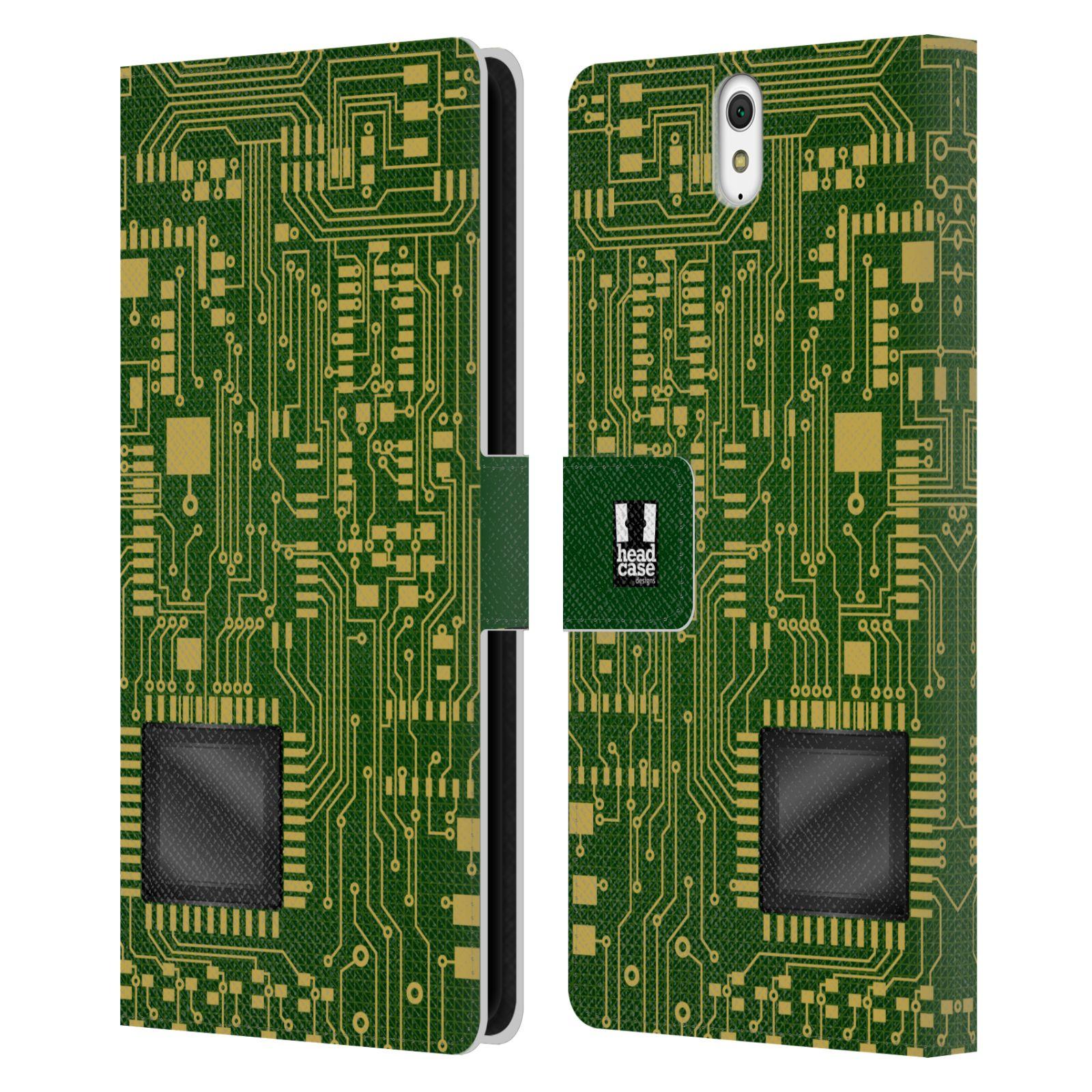 HEAD CASE Flipové pouzdro pro mobil SONY XPERIA C5 Ultra počítač základní deska zelená barva velký čip