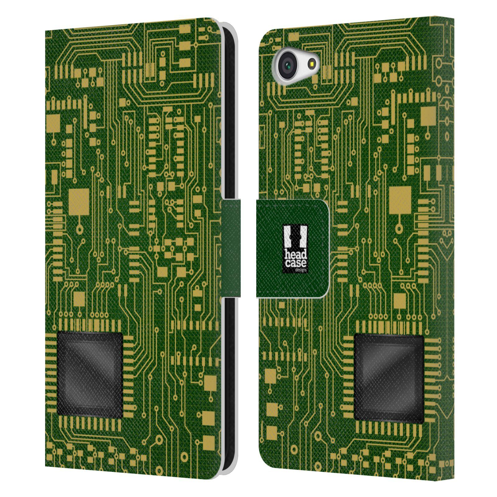 HEAD CASE Flipové pouzdro pro mobil SONY XPERIA Z5 COMPACT počítač základní deska zelená barva velký čip