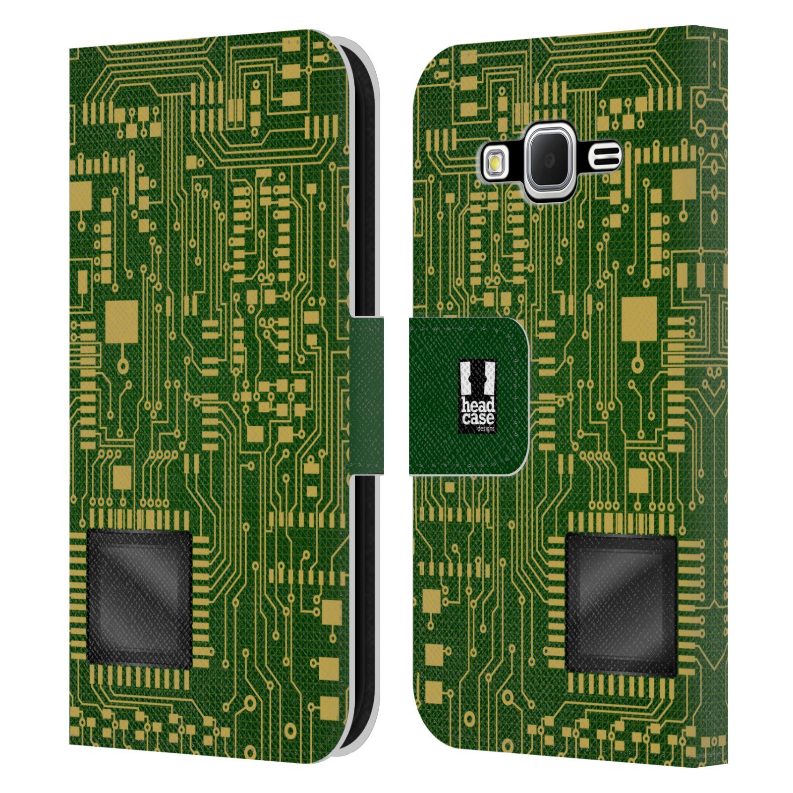 HEAD CASE Flipové pouzdro pro mobil Samsung Galaxy CORE PRIME počítač základní deska zelená barva velký čip