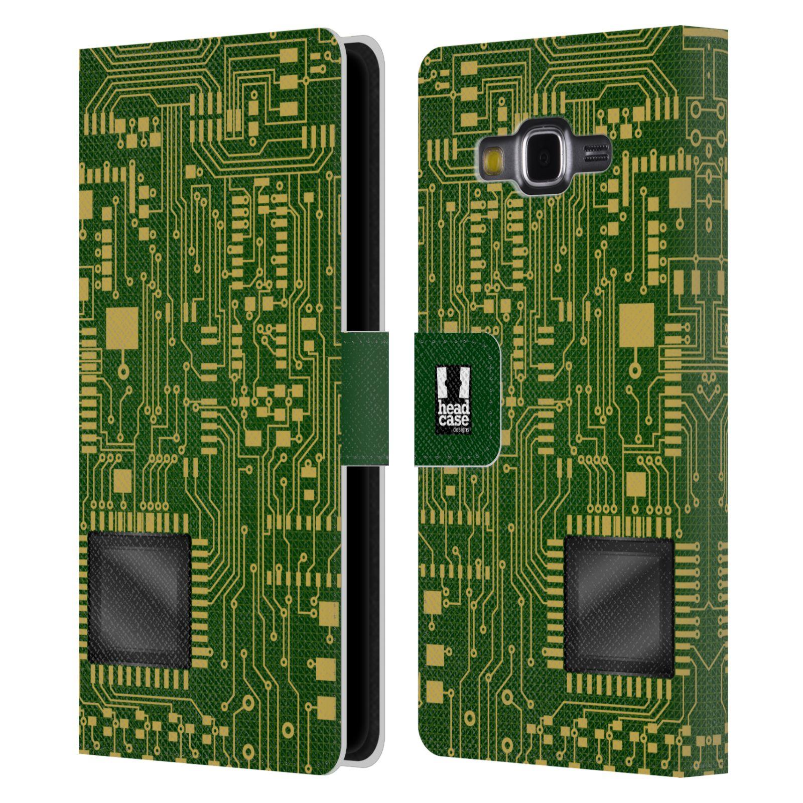 HEAD CASE Flipové pouzdro pro mobil Samsung Galaxy Grand PRIME počítač základní deska zelená barva velký čip