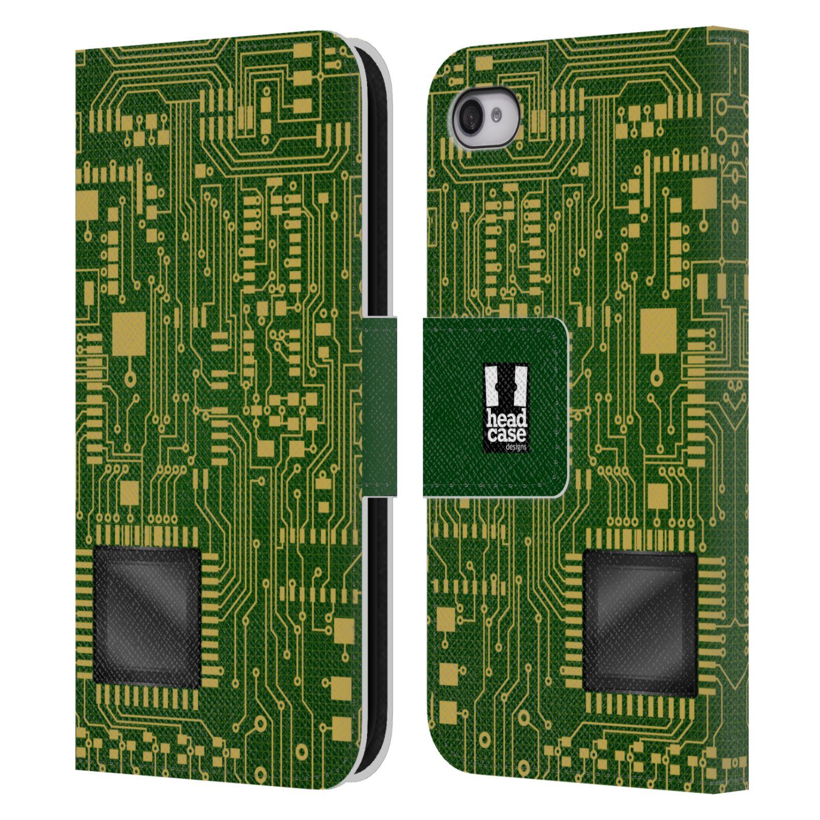 HEAD CASE Flipové pouzdro pro mobil Apple Iphone 4/4s počítač základní deska zelená barva velký čip