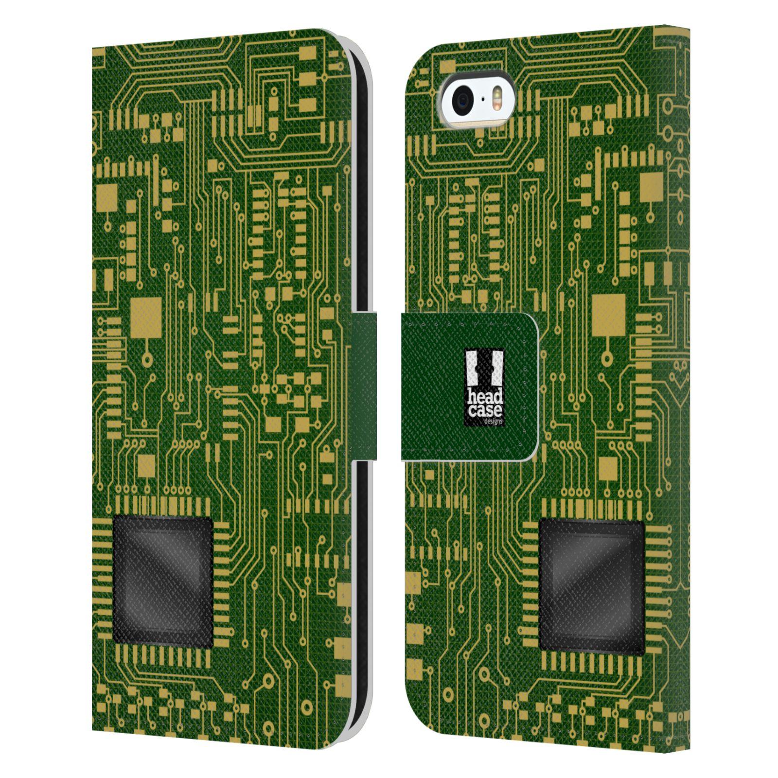 HEAD CASE Flipové pouzdro pro mobil Apple Iphone 5/5s počítač základní deska zelená barva velký čip