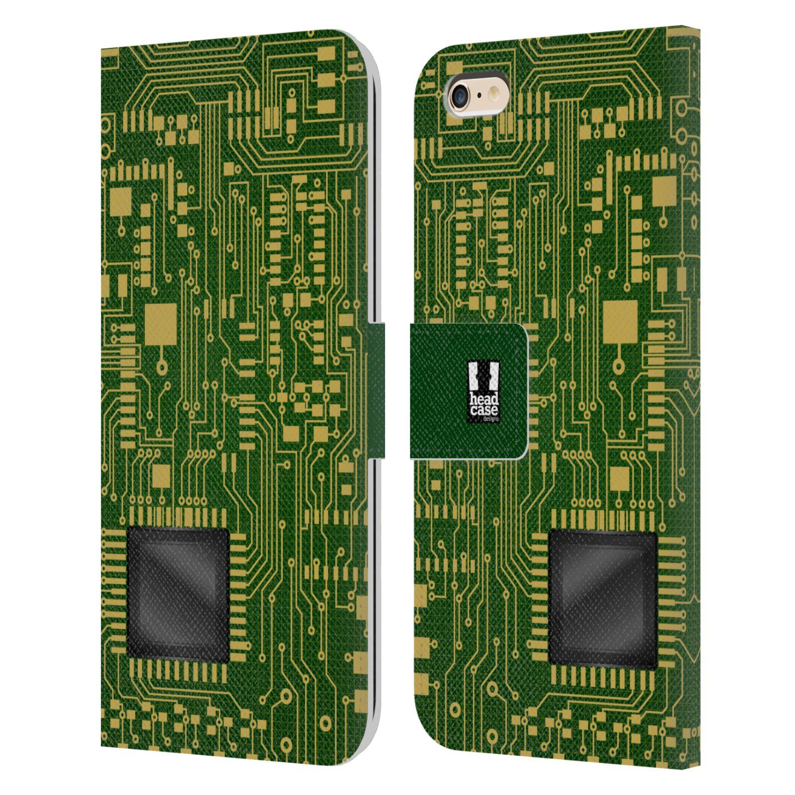 HEAD CASE Flipové pouzdro pro mobil Apple Iphone 6 PLUS / 6S PLUS počítač základní deska zelená barva velký čip