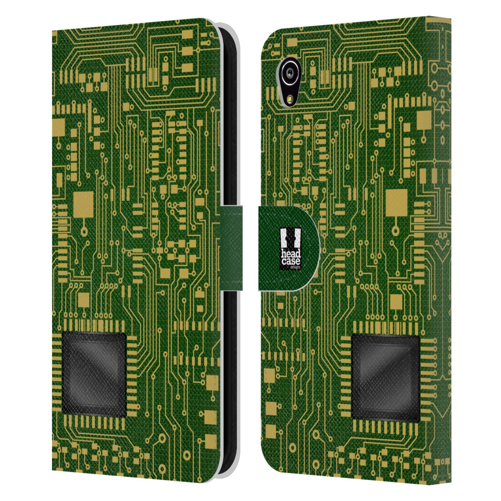 HEAD CASE Flipové pouzdro pro mobil SONY XPERIA M4 AQUA počítač základní deska zelená barva velký čip