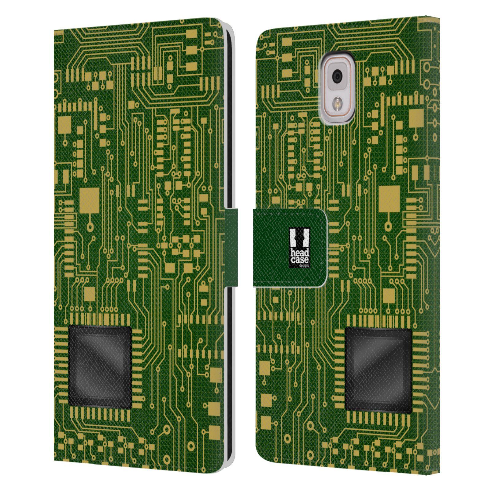 HEAD CASE Flipové pouzdro pro mobil Samsung Galaxy Note 3 N9005 počítač základní deska zelená barva velký čip