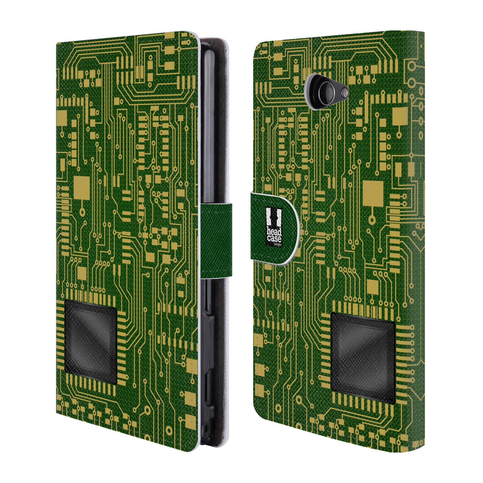 HEAD CASE Flipové pouzdro pro mobil SONY XPERIA M2 počítač základní deska zelená barva velký čip