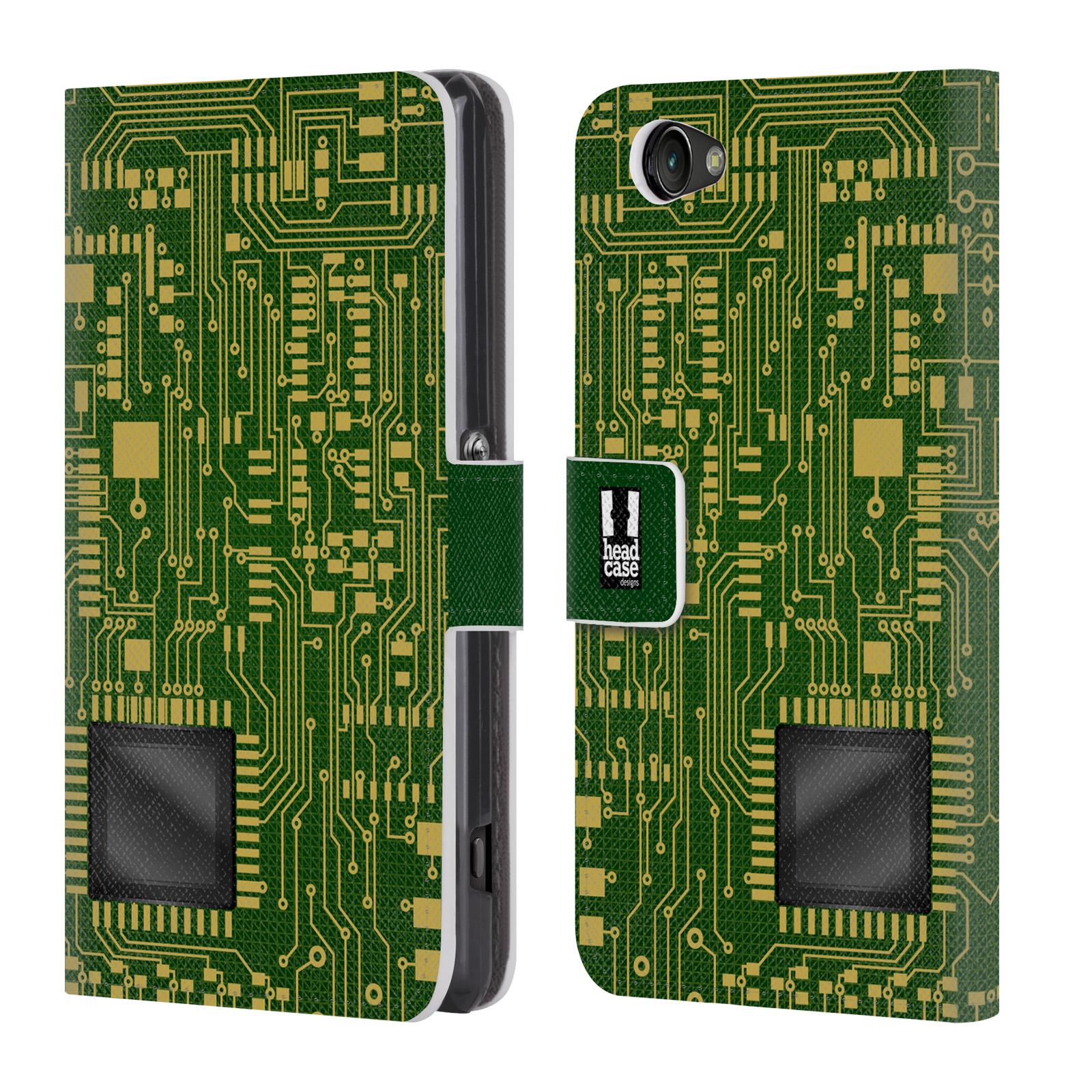 HEAD CASE Flipové pouzdro pro mobil SONY XPERIA Z1 COMPACT počítač základní deska zelená barva velký čip