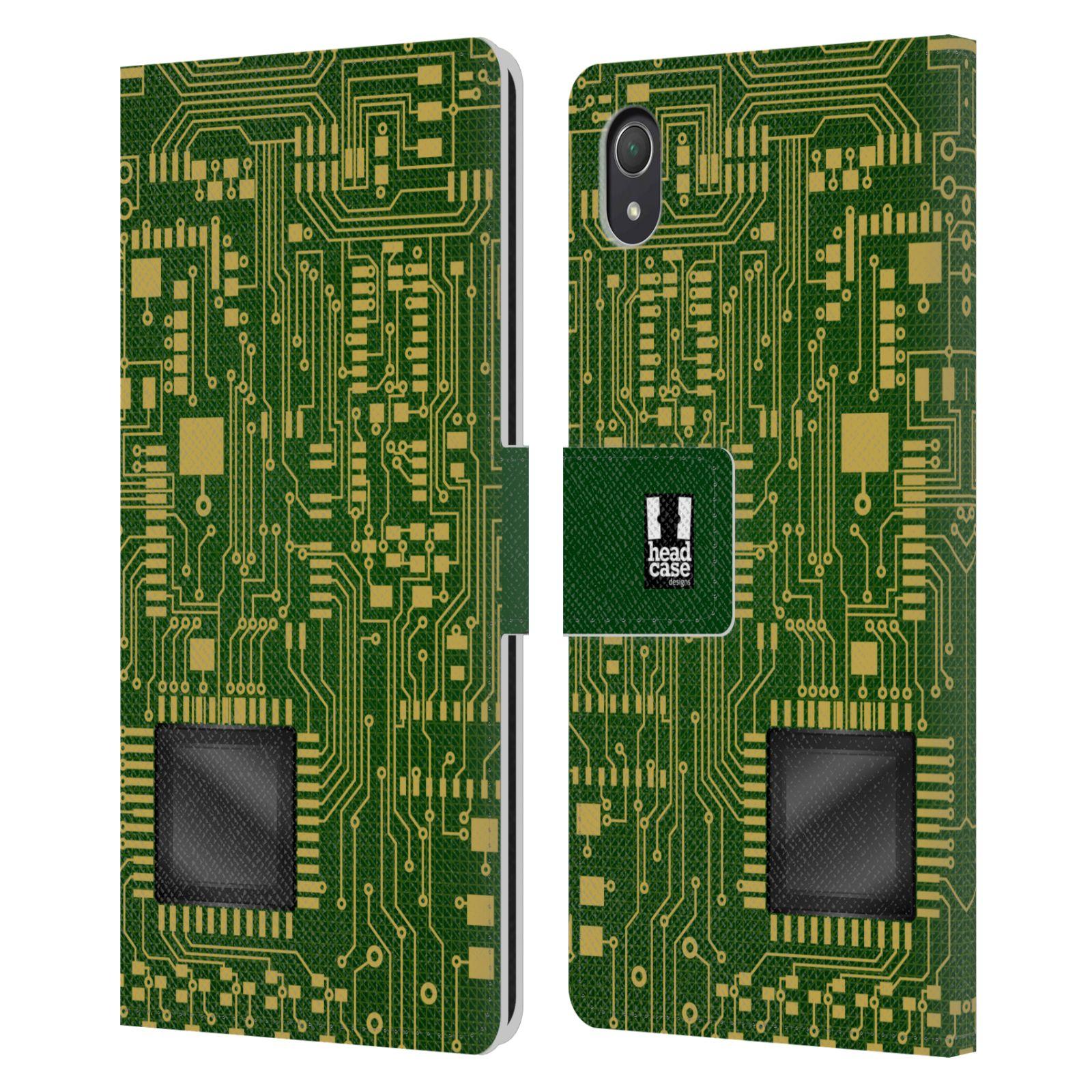 HEAD CASE Flipové pouzdro pro mobil SONY XPERIA Z2 počítač základní deska zelená barva velký čip