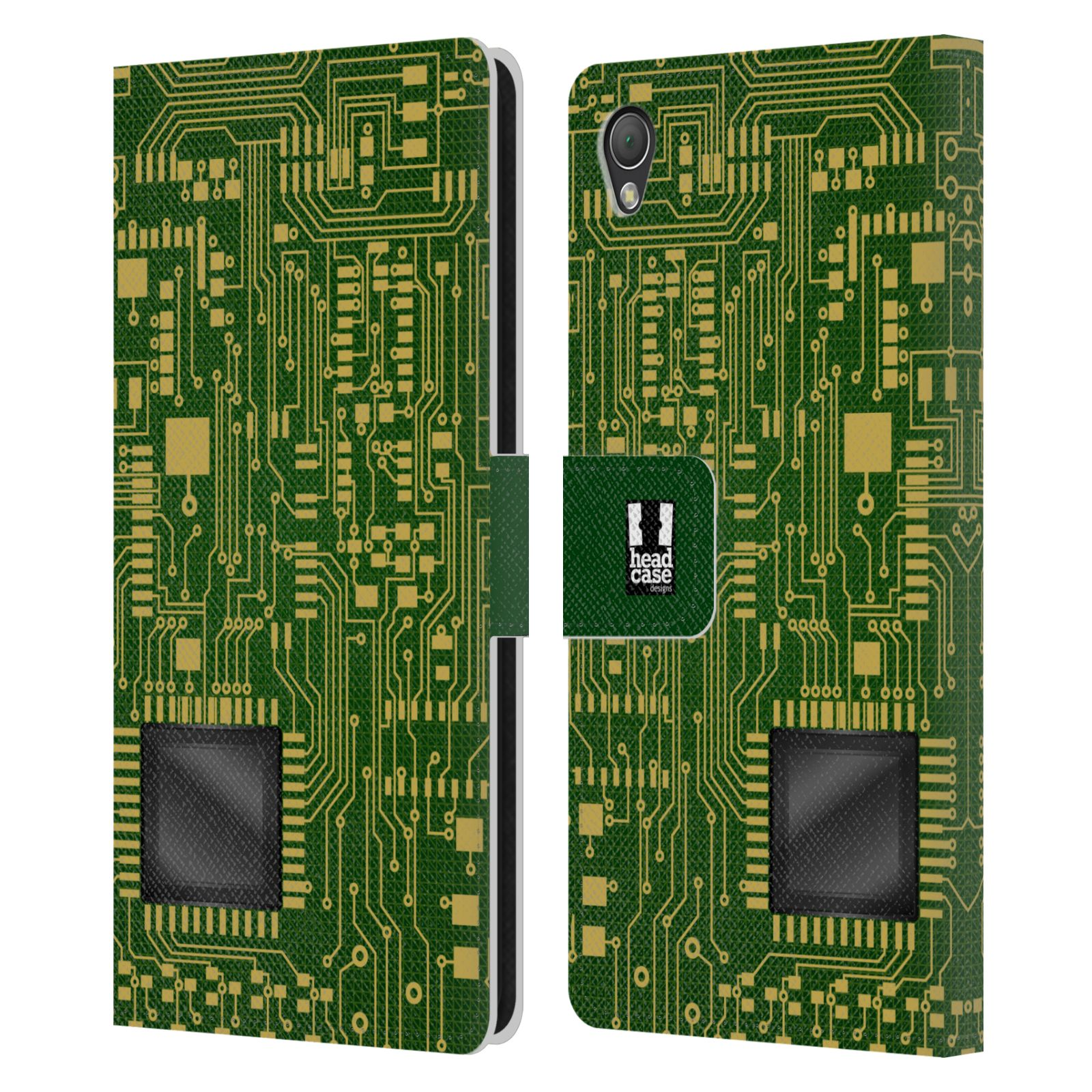 HEAD CASE Flipové pouzdro pro mobil SONY XPERIA Z3 počítač základní deska zelená barva velký čip
