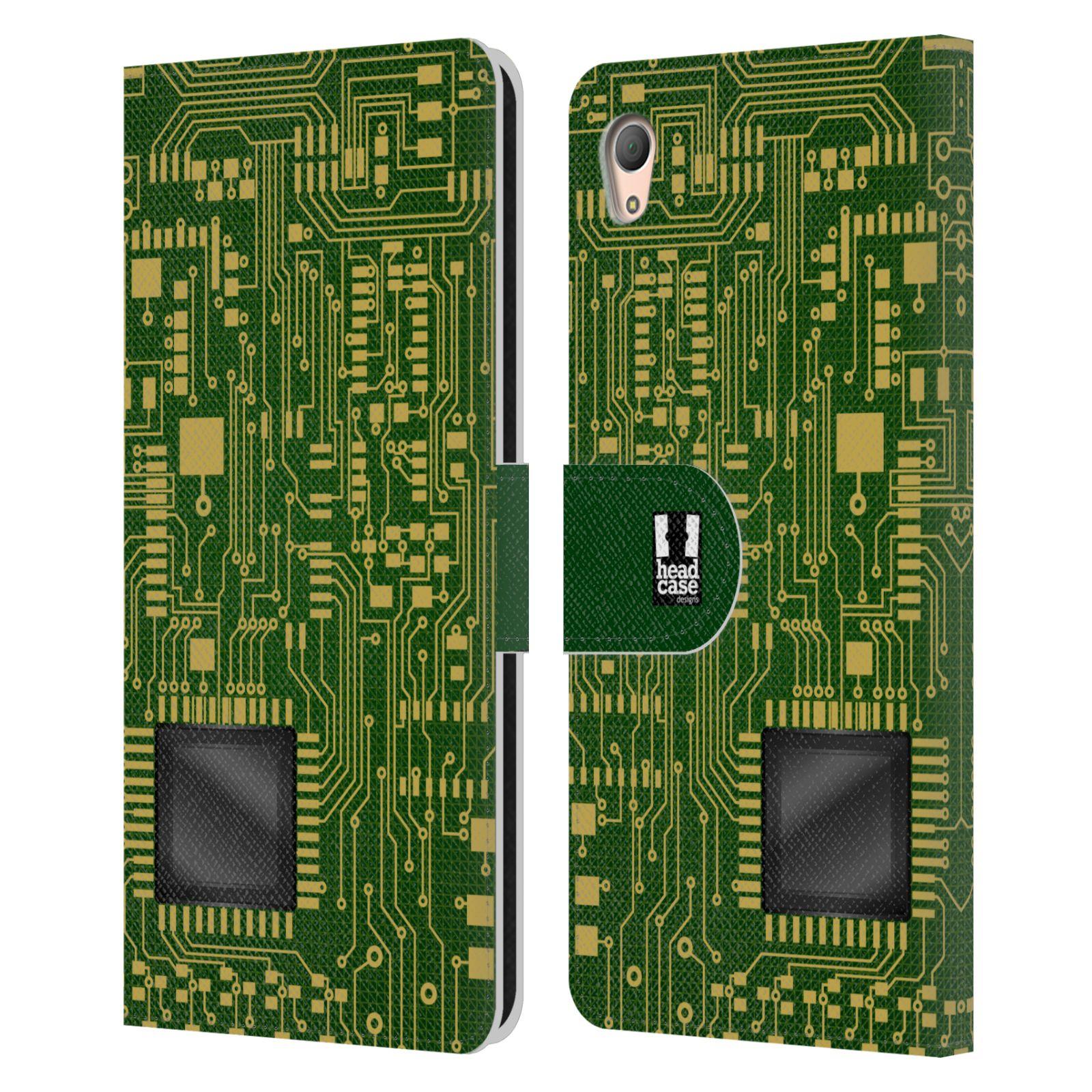 HEAD CASE Flipové pouzdro pro mobil SONY XPERIA Z3+ (PLUS) počítač základní deska zelená barva velký čip