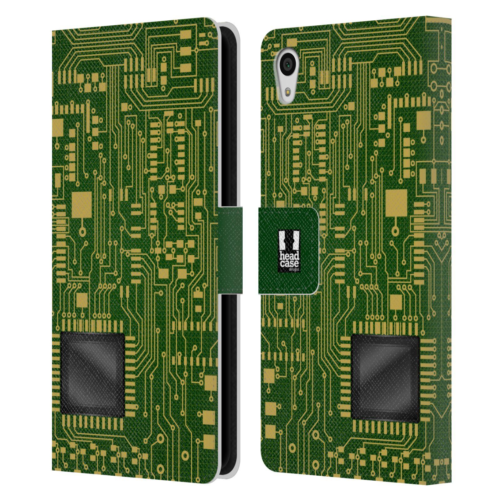 HEAD CASE Flipové pouzdro pro mobil SONY XPERIA Z5 počítač základní deska zelená barva velký čip