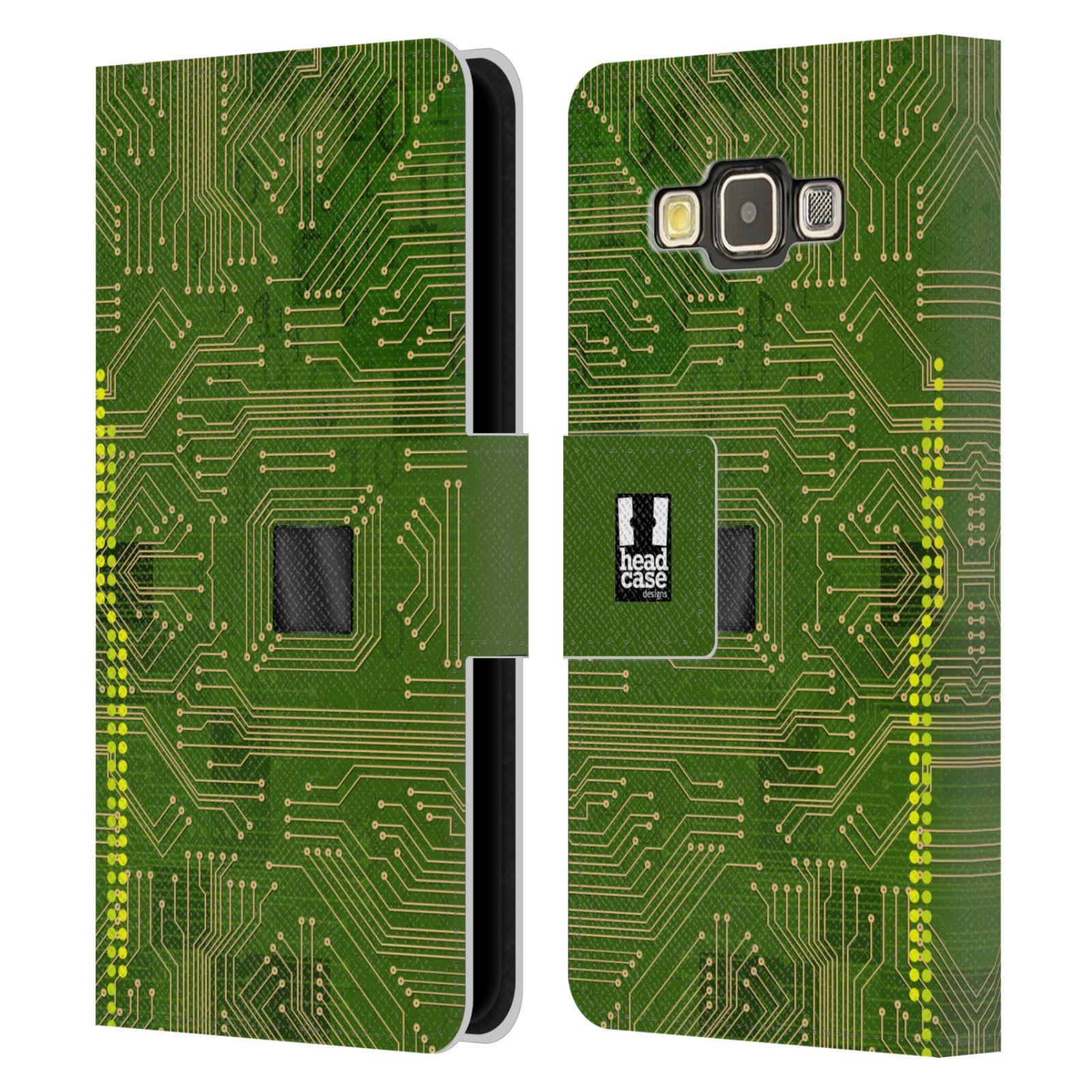 HEAD CASE Flipové pouzdro pro mobil Samsung Galaxy A3 počítač základní deska zelená barva