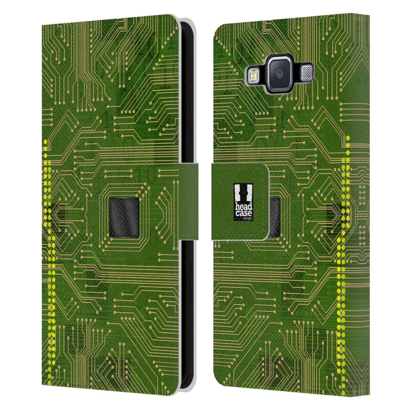 HEAD CASE Flipové pouzdro pro mobil Samsung Galaxy A5 počítač základní deska zelená barva