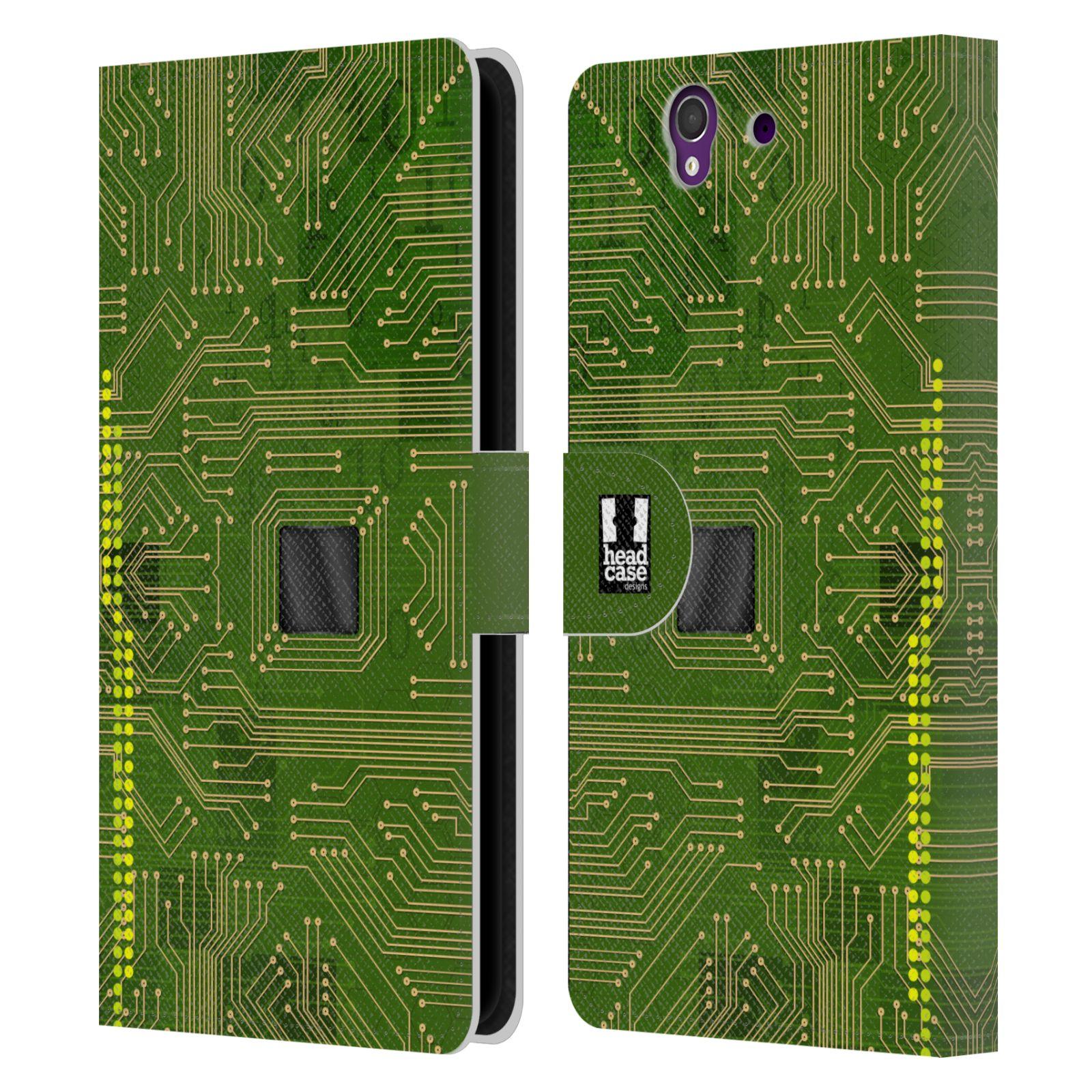 HEAD CASE Flipové pouzdro pro mobil SONY XPERIA Z (C6603) počítač základní deska zelená barva