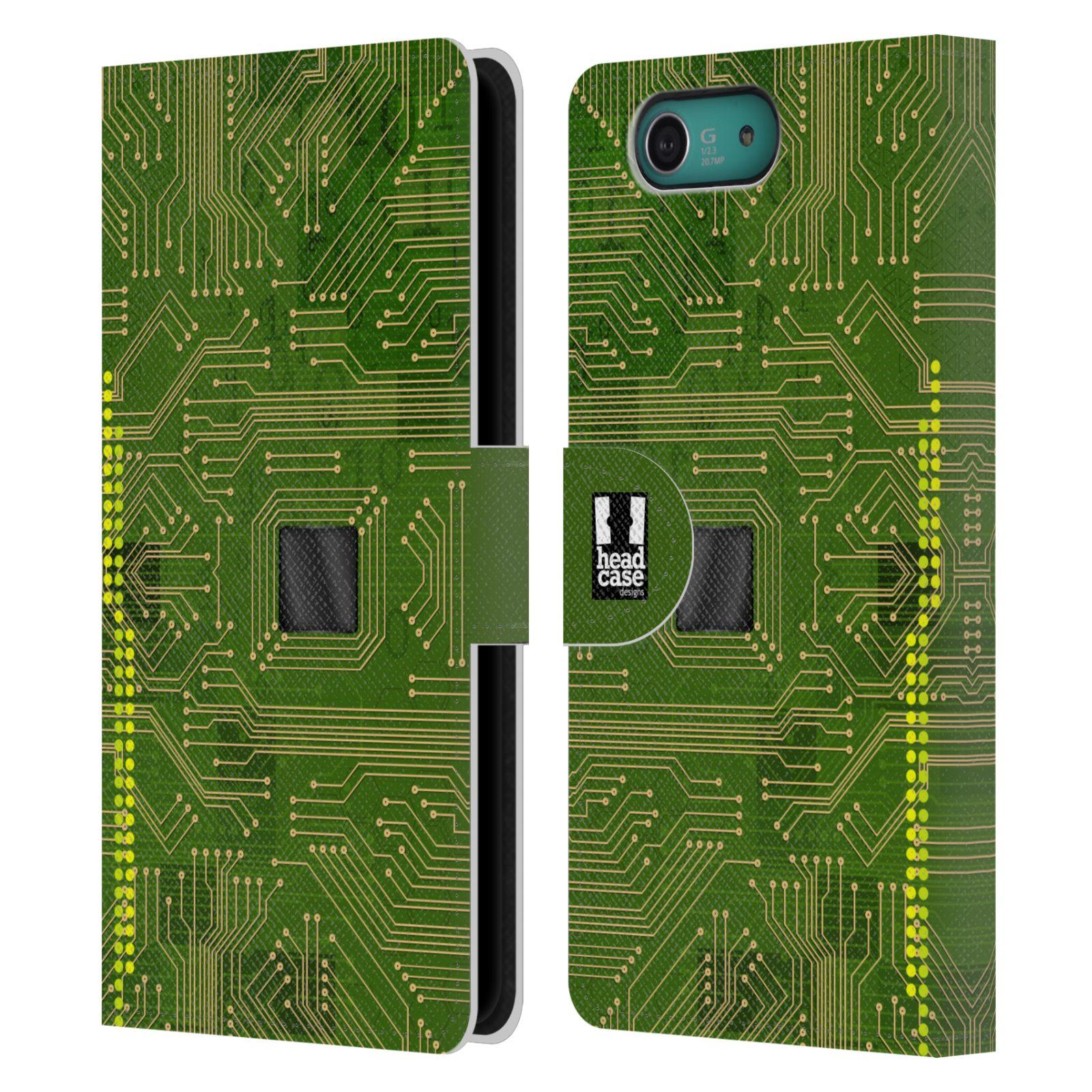 HEAD CASE Flipové pouzdro pro mobil SONY XPERIA Z3 COMPACT počítač základní deska zelená barva