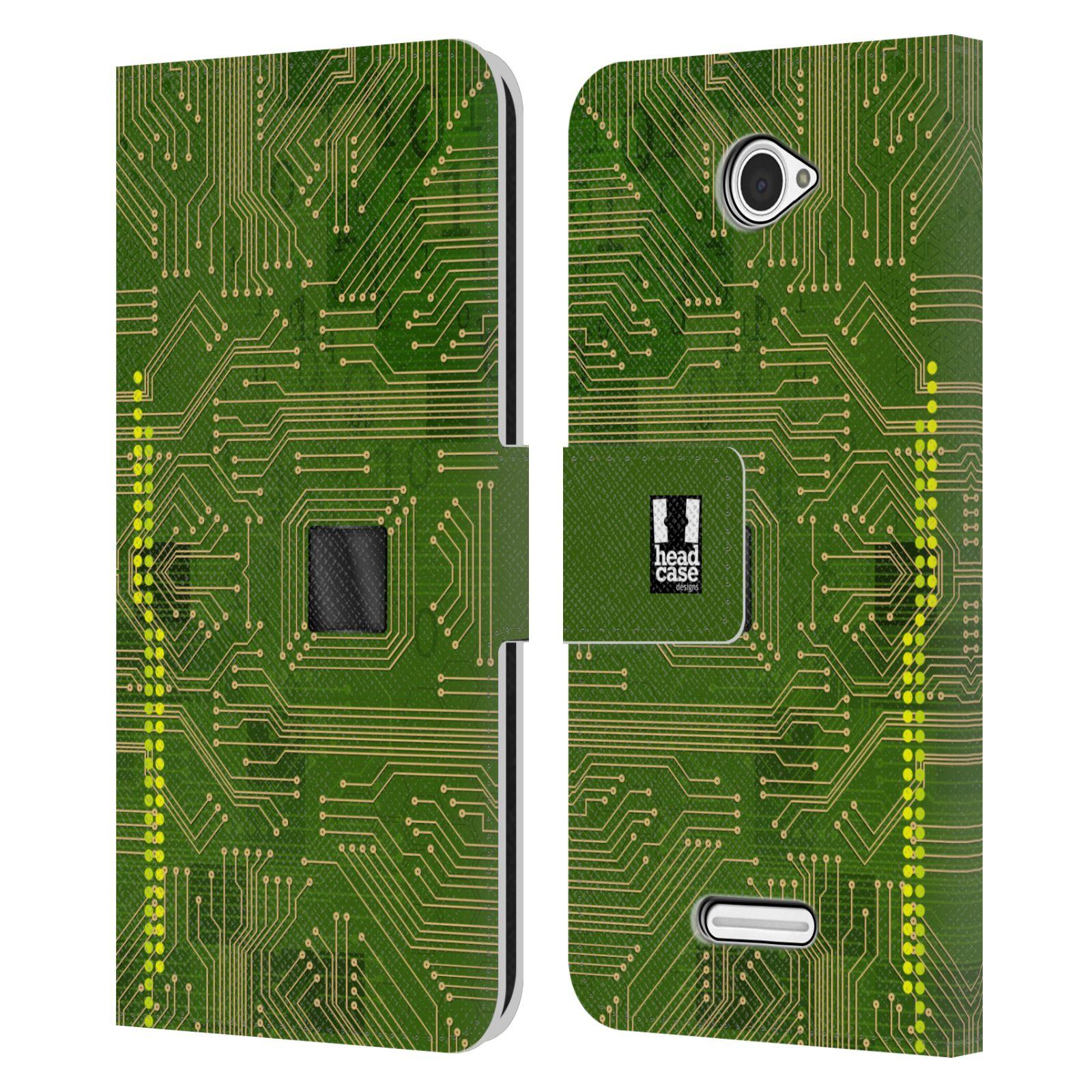 HEAD CASE Flipové pouzdro pro mobil SONY XPERIA E4 počítač základní deska zelená barva