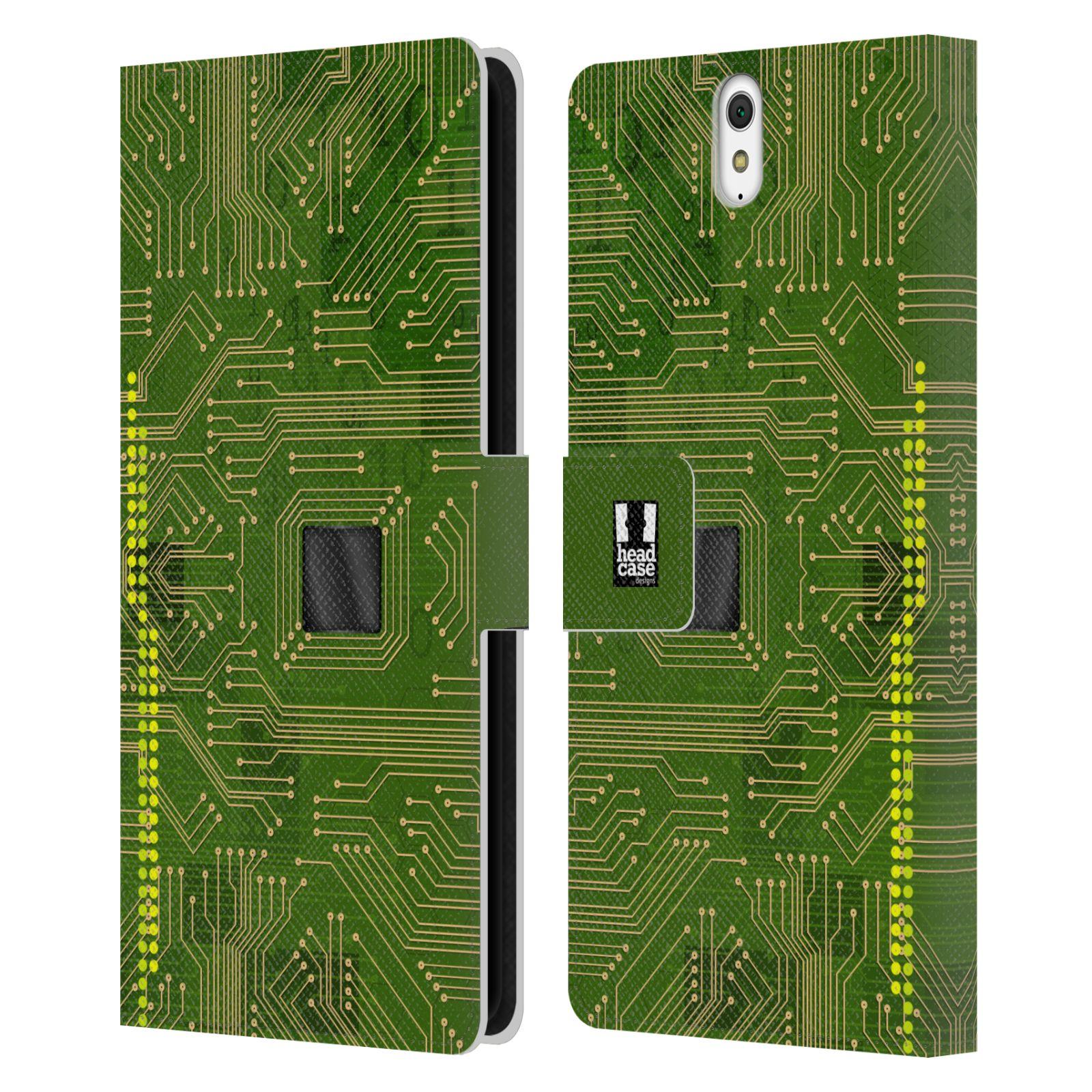 HEAD CASE Flipové pouzdro pro mobil SONY XPERIA C5 Ultra počítač základní deska zelená barva
