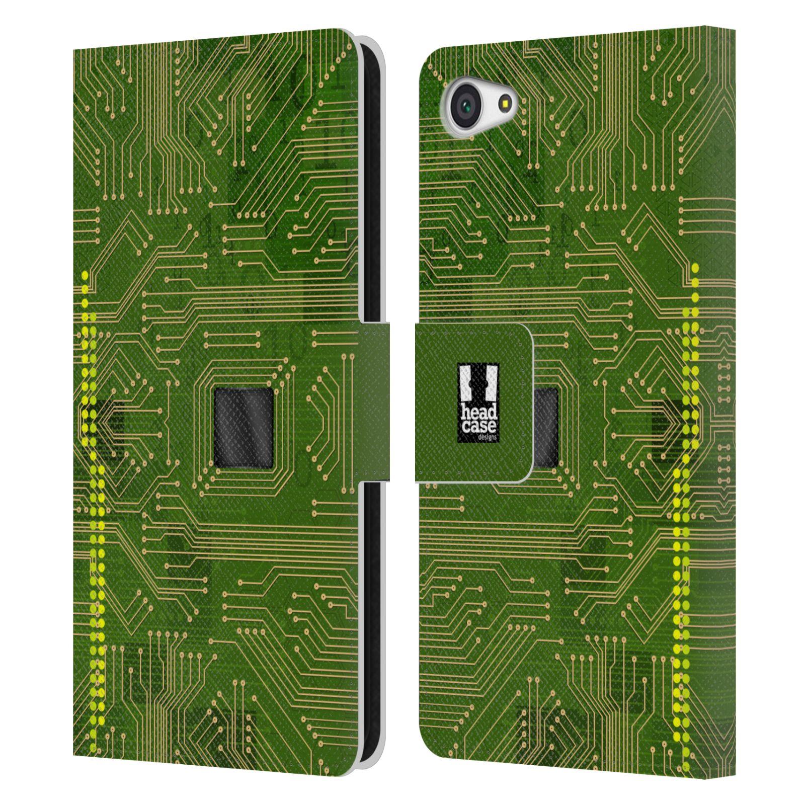 HEAD CASE Flipové pouzdro pro mobil SONY XPERIA Z5 COMPACT počítač základní deska zelená barva