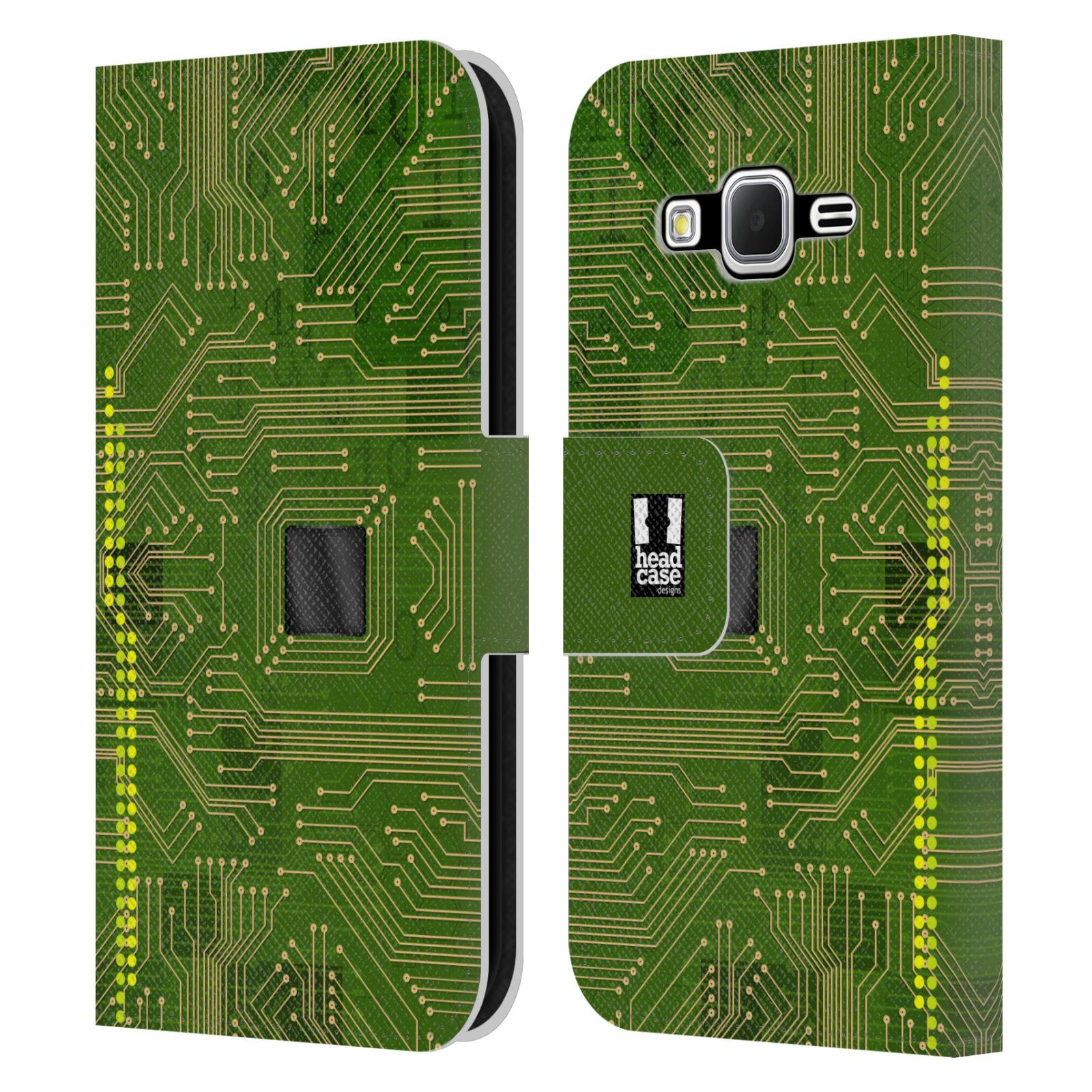 HEAD CASE Flipové pouzdro pro mobil Samsung Galaxy CORE PRIME počítač základní deska zelená barva