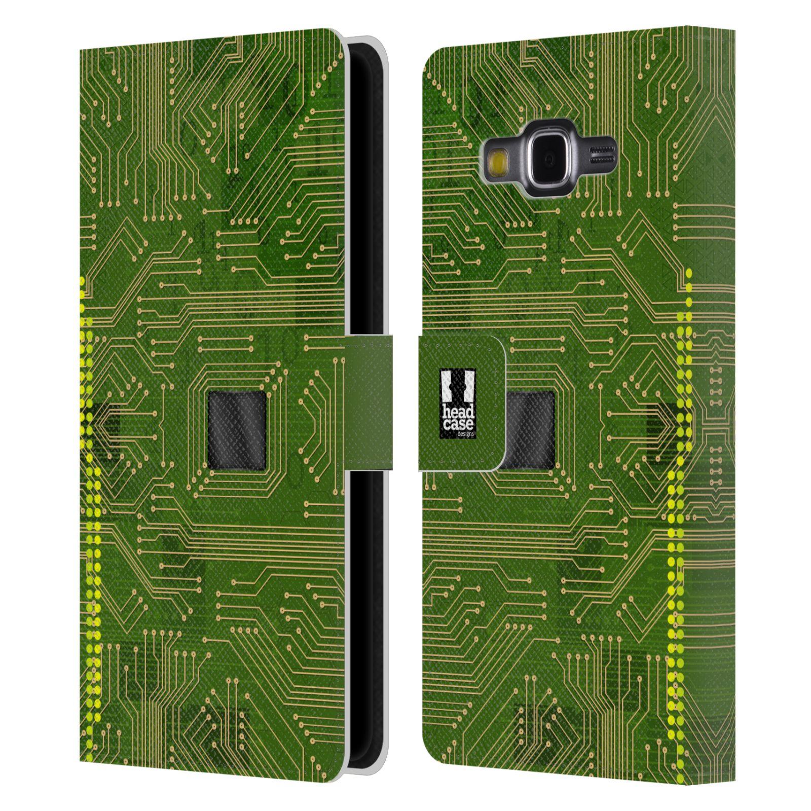 HEAD CASE Flipové pouzdro pro mobil Samsung Galaxy Grand PRIME počítač základní deska zelená barva